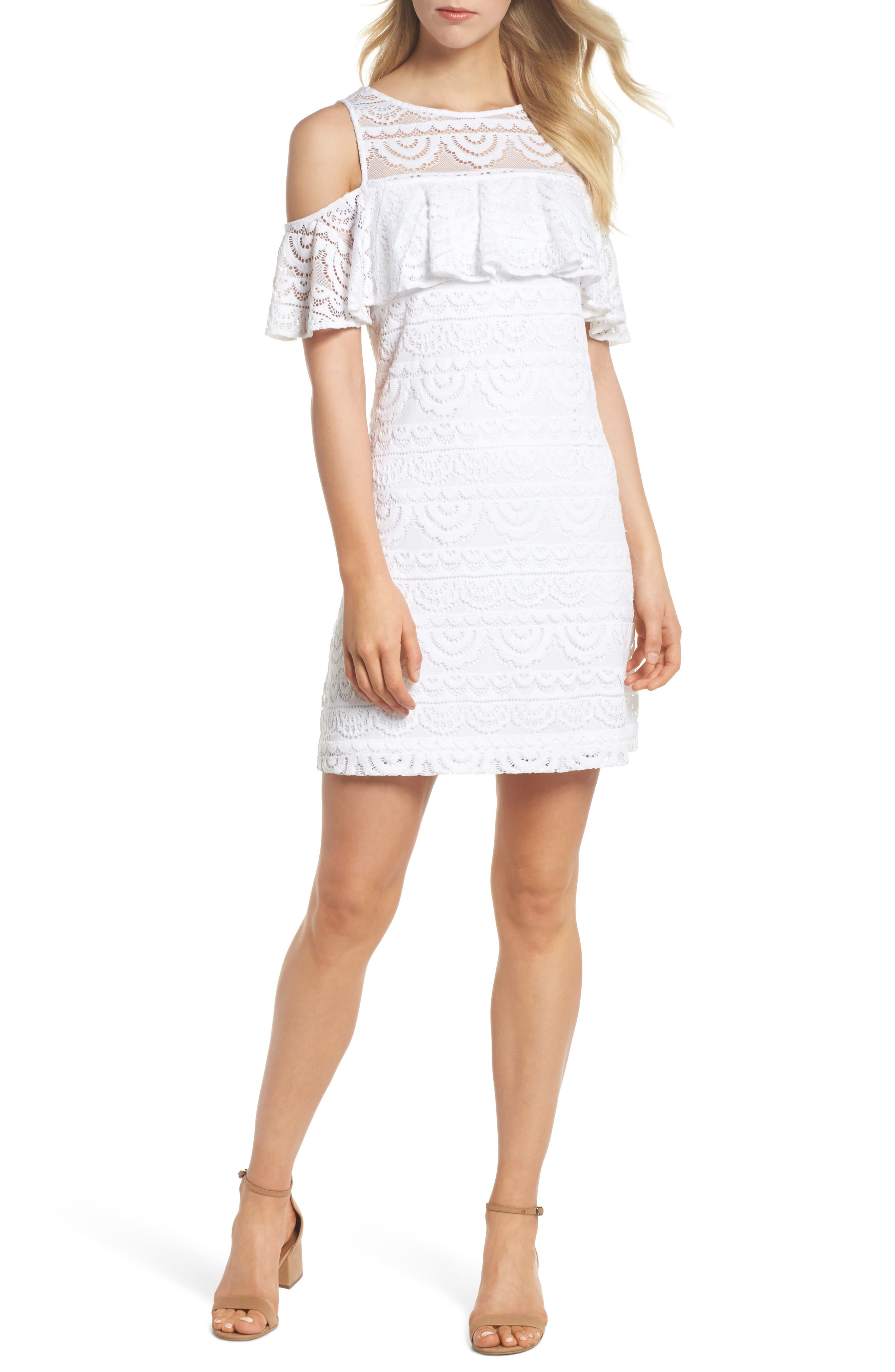Lyra Cold Shoulder Lace Dress,                             Main thumbnail 1, color,                             Resort White Scallop Lace