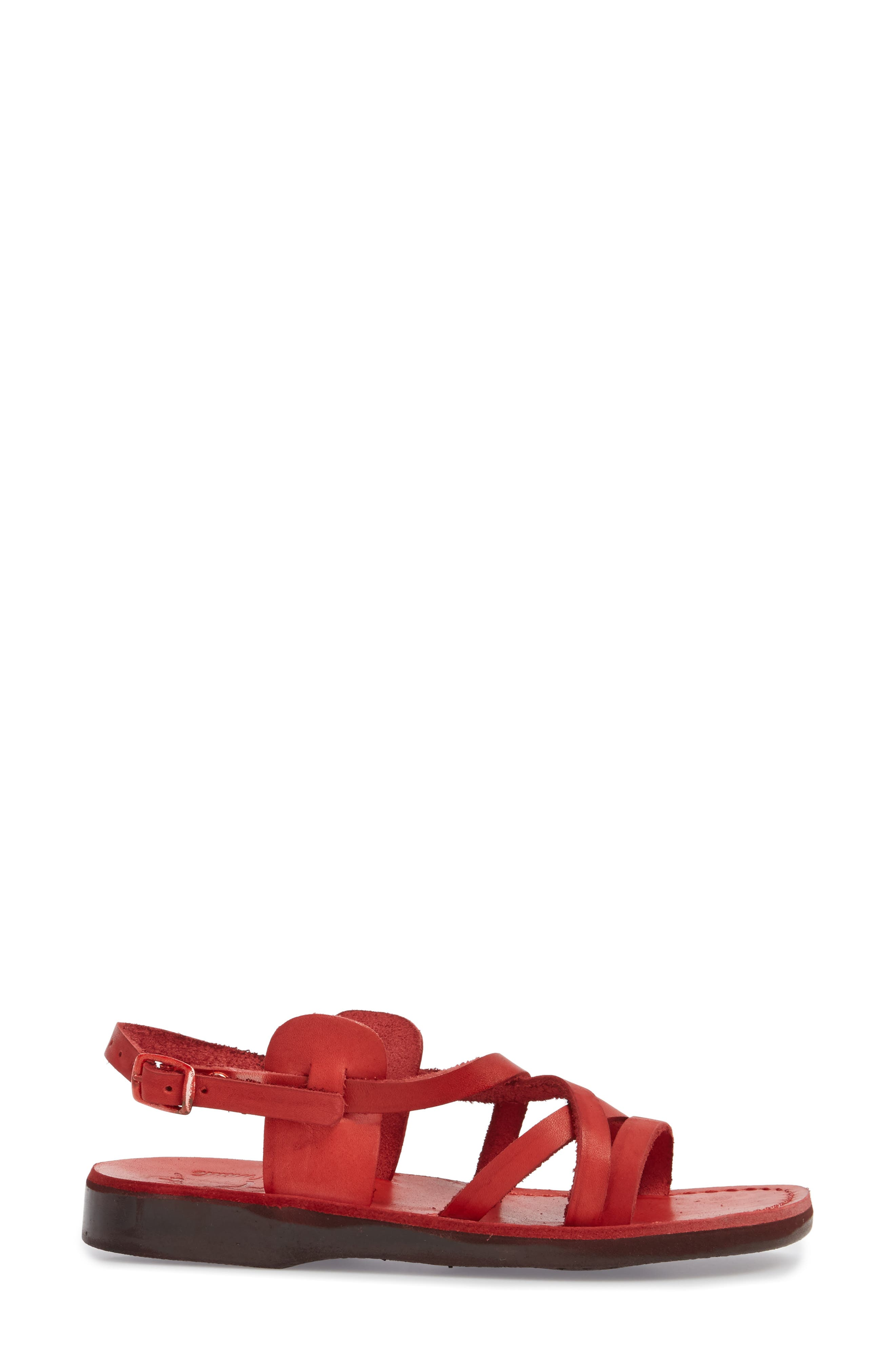 Tzippora Slingback Sandal,                             Alternate thumbnail 3, color,                             Red Leather