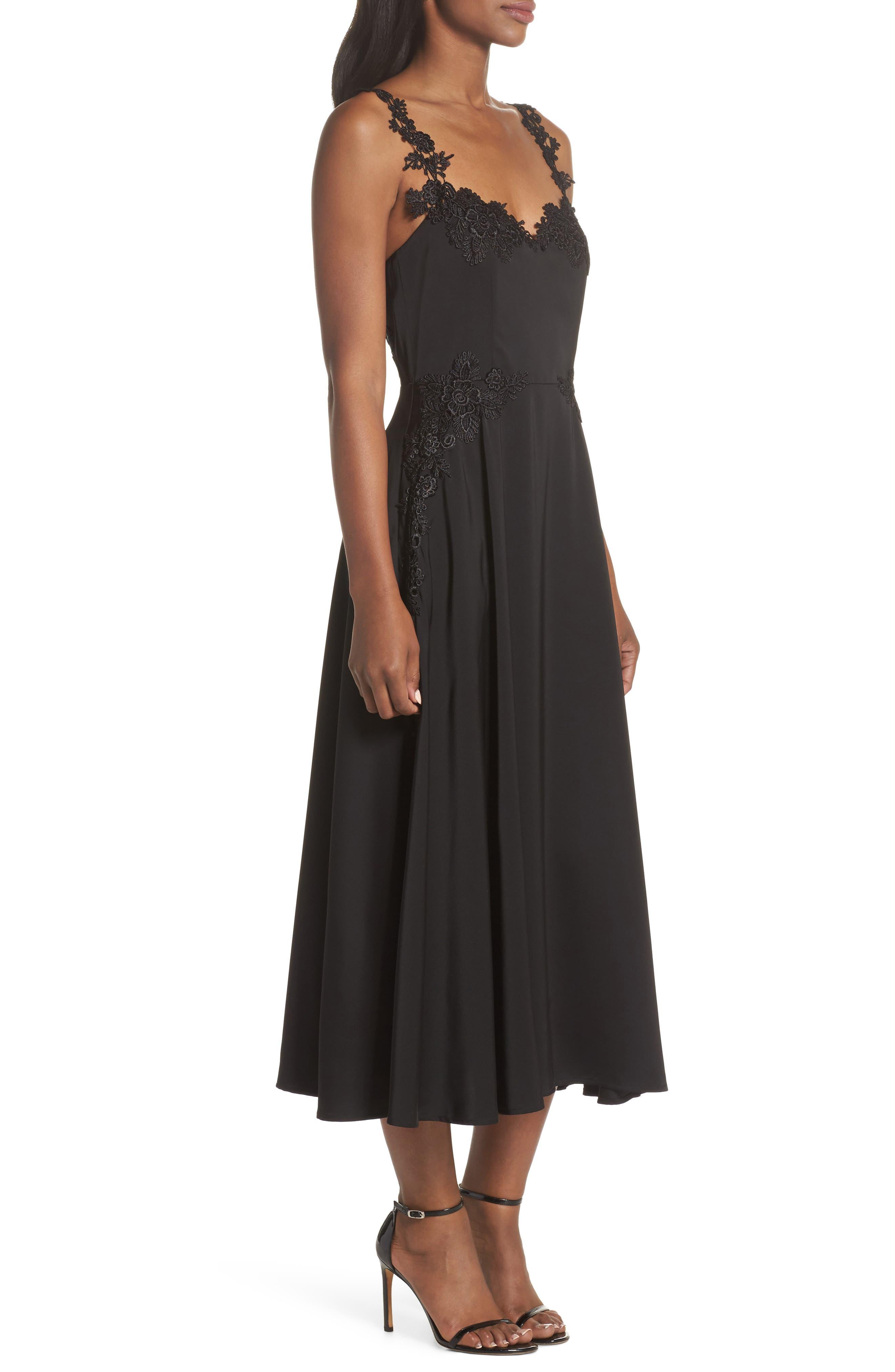 Aislinn Floral Appliqué Tea Length Dress,                             Alternate thumbnail 3, color,                             Black Multi