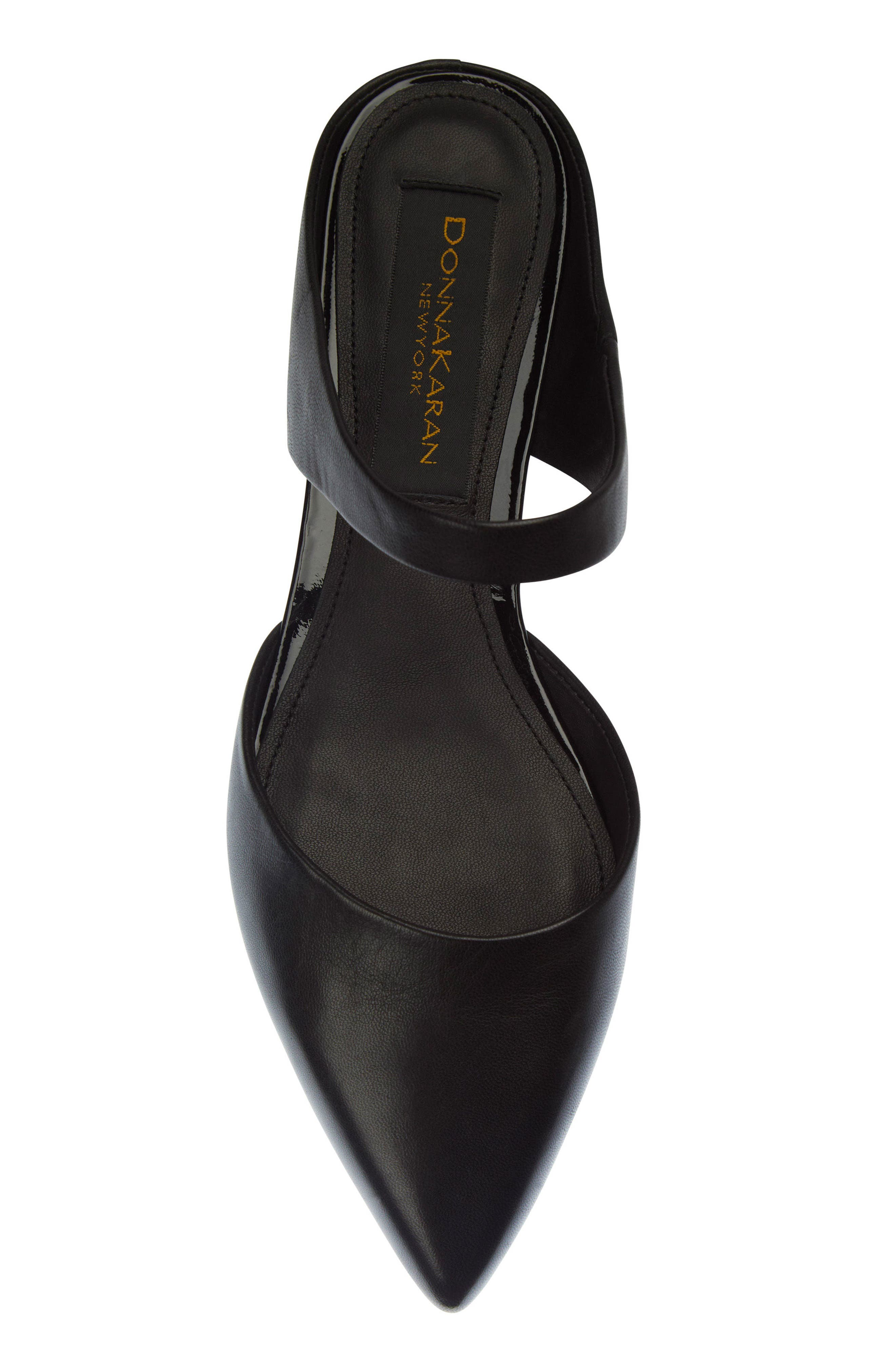 Donna Karan Paris Pointy Toe Mule,                             Alternate thumbnail 5, color,                             Black Leather