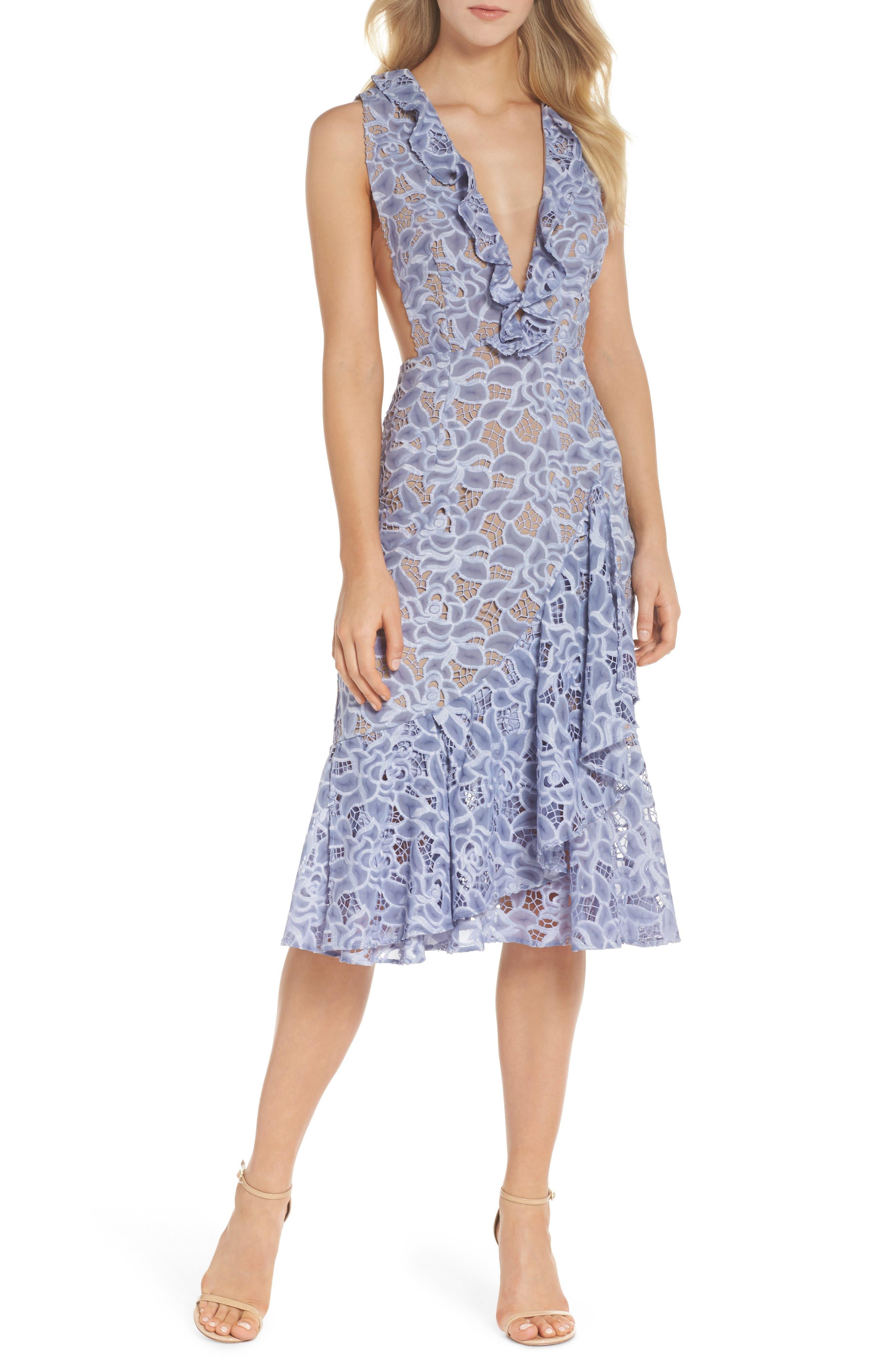Amelia Ruffle Lace Dress,                         Main,                         color, Cornflower Blue