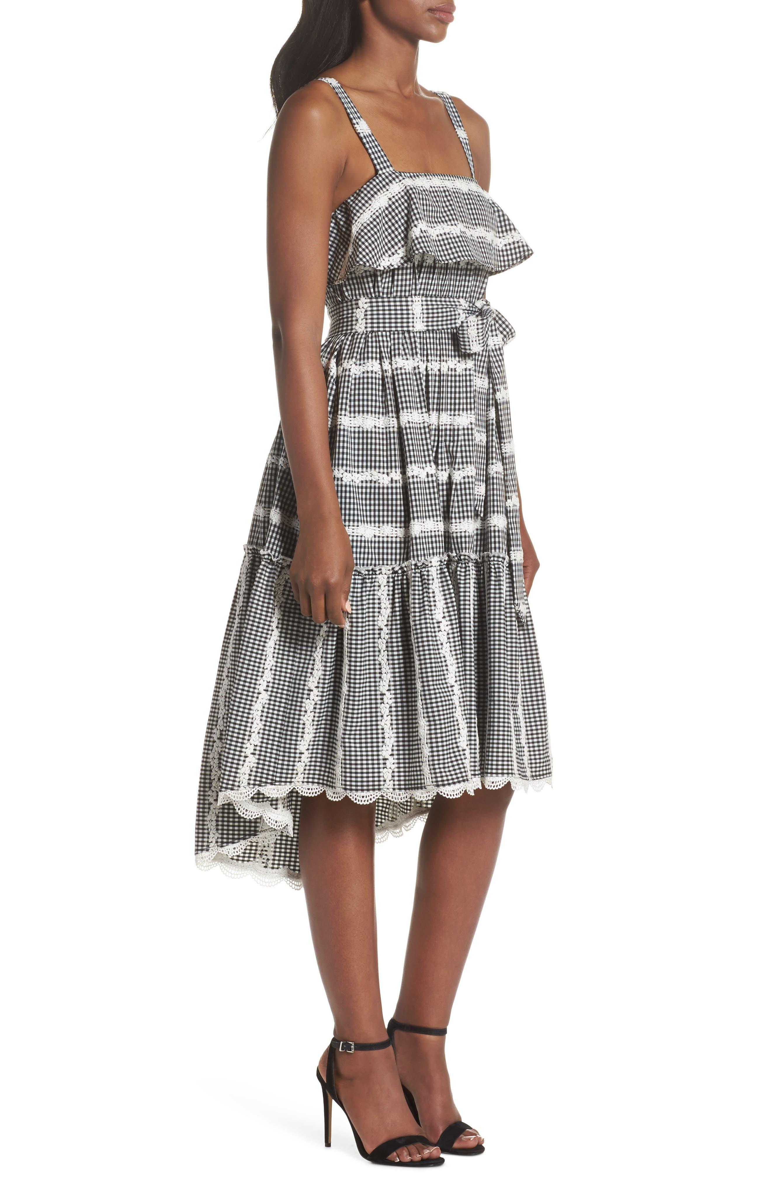 Belle Midi Dress,                             Alternate thumbnail 3, color,                             Black/ White