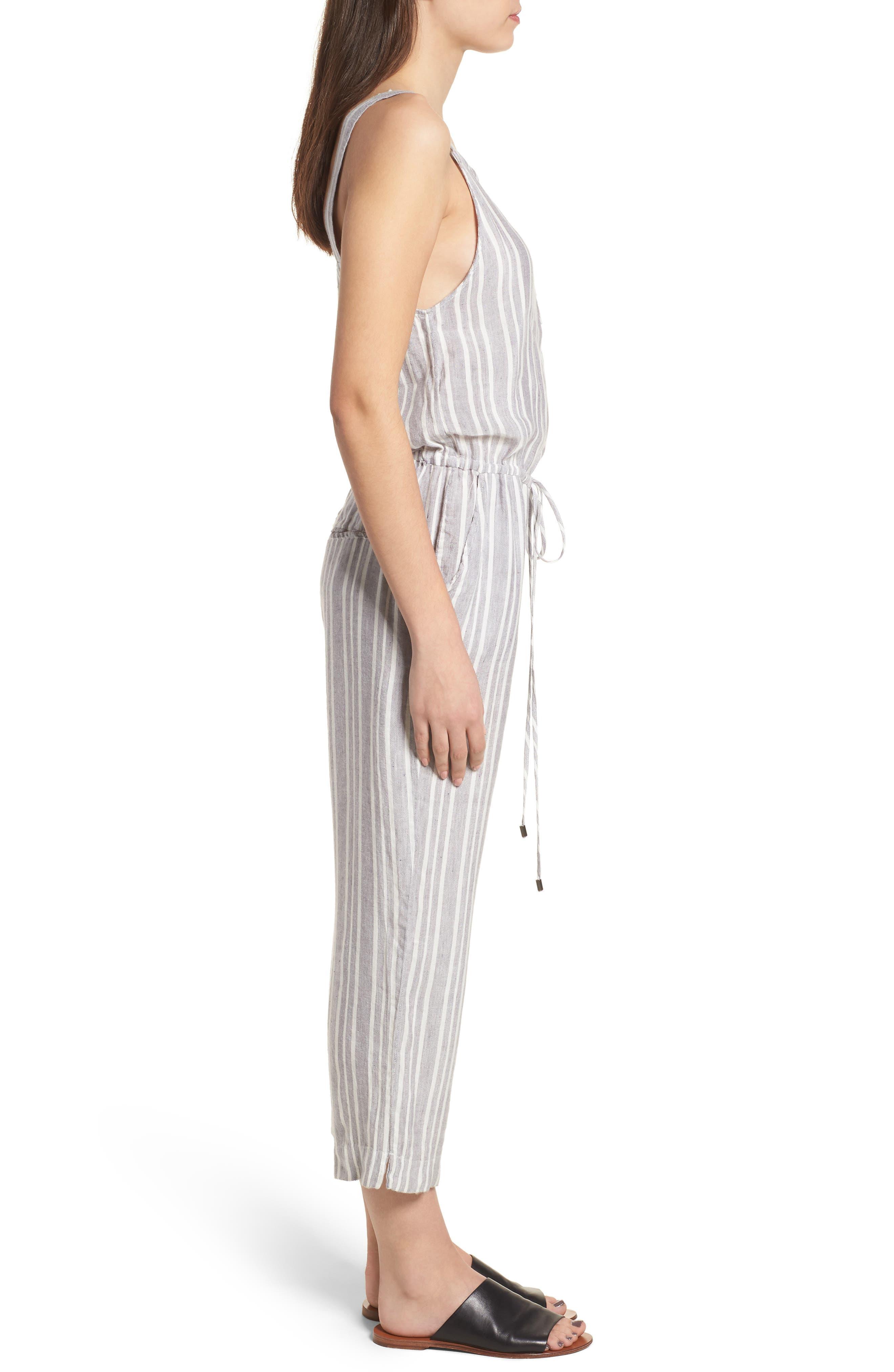 Brooklyn Crop Jumpsuit,                             Alternate thumbnail 3, color,                             Caldas Stripe