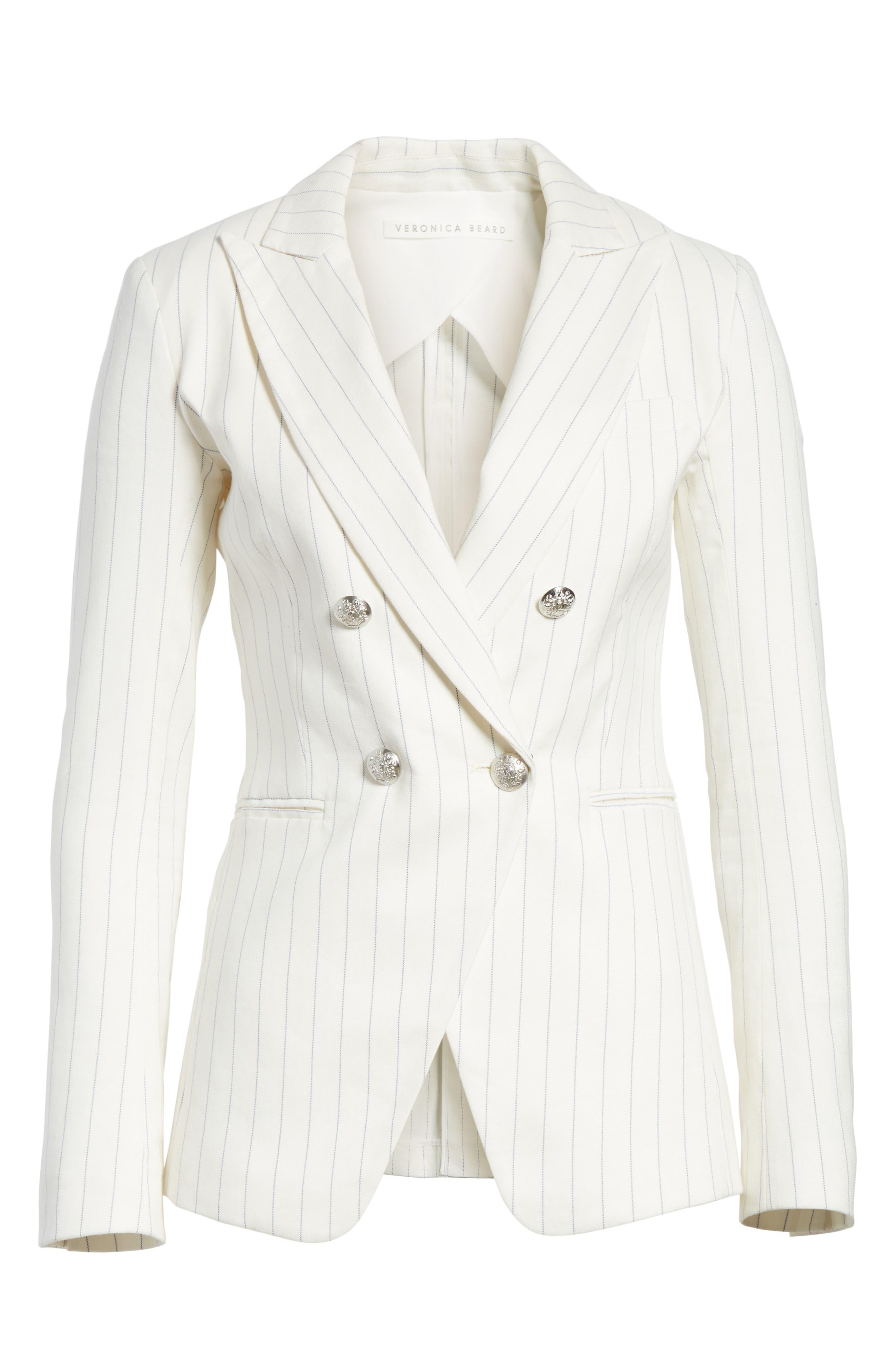 Apollo Pinstripe Jacket,                             Alternate thumbnail 6, color,                             Off White/ Blue Stripe