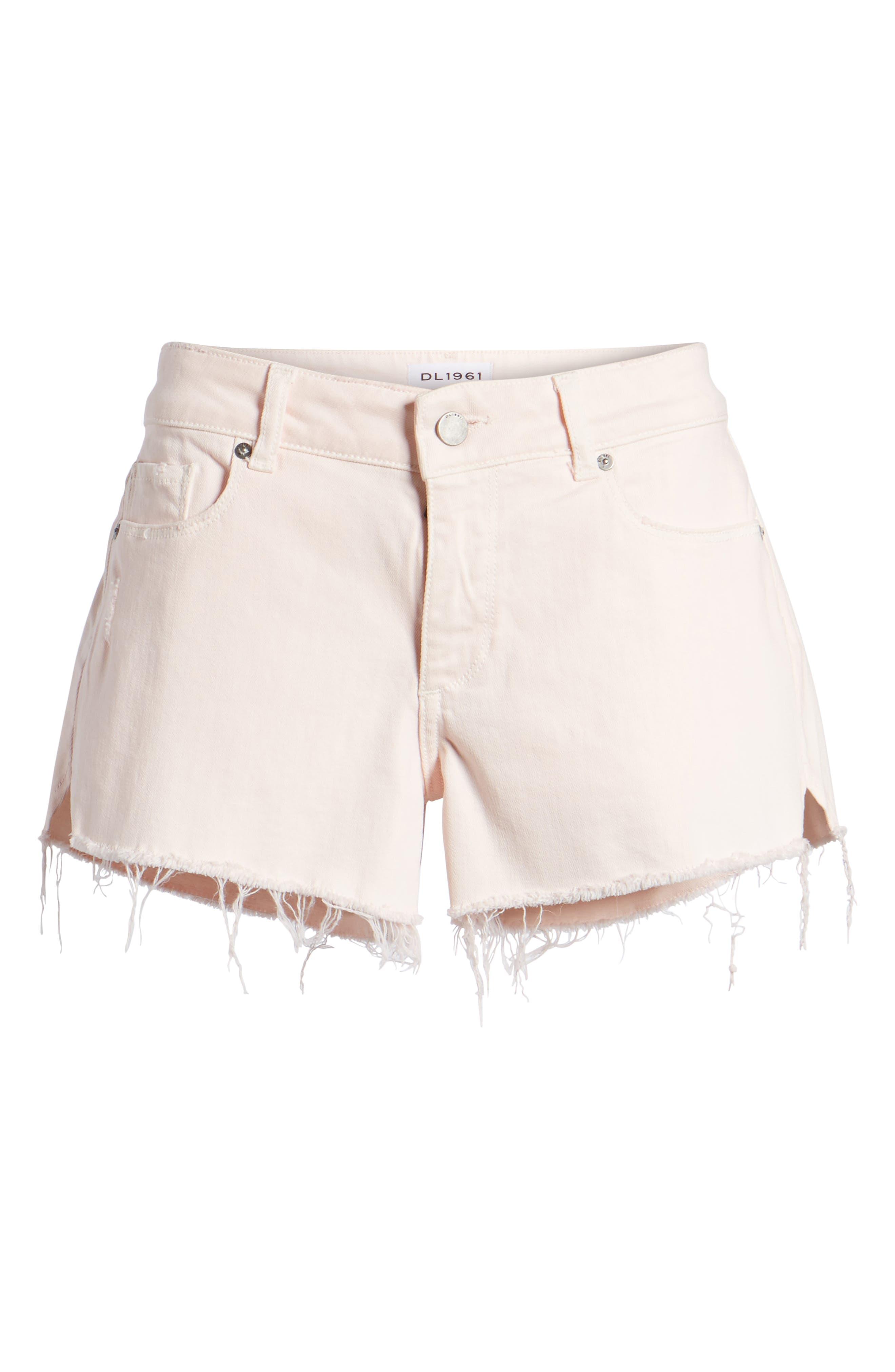 Renee Notch Raw Hem Denim Shorts,                             Alternate thumbnail 6, color,                             Blush Pink