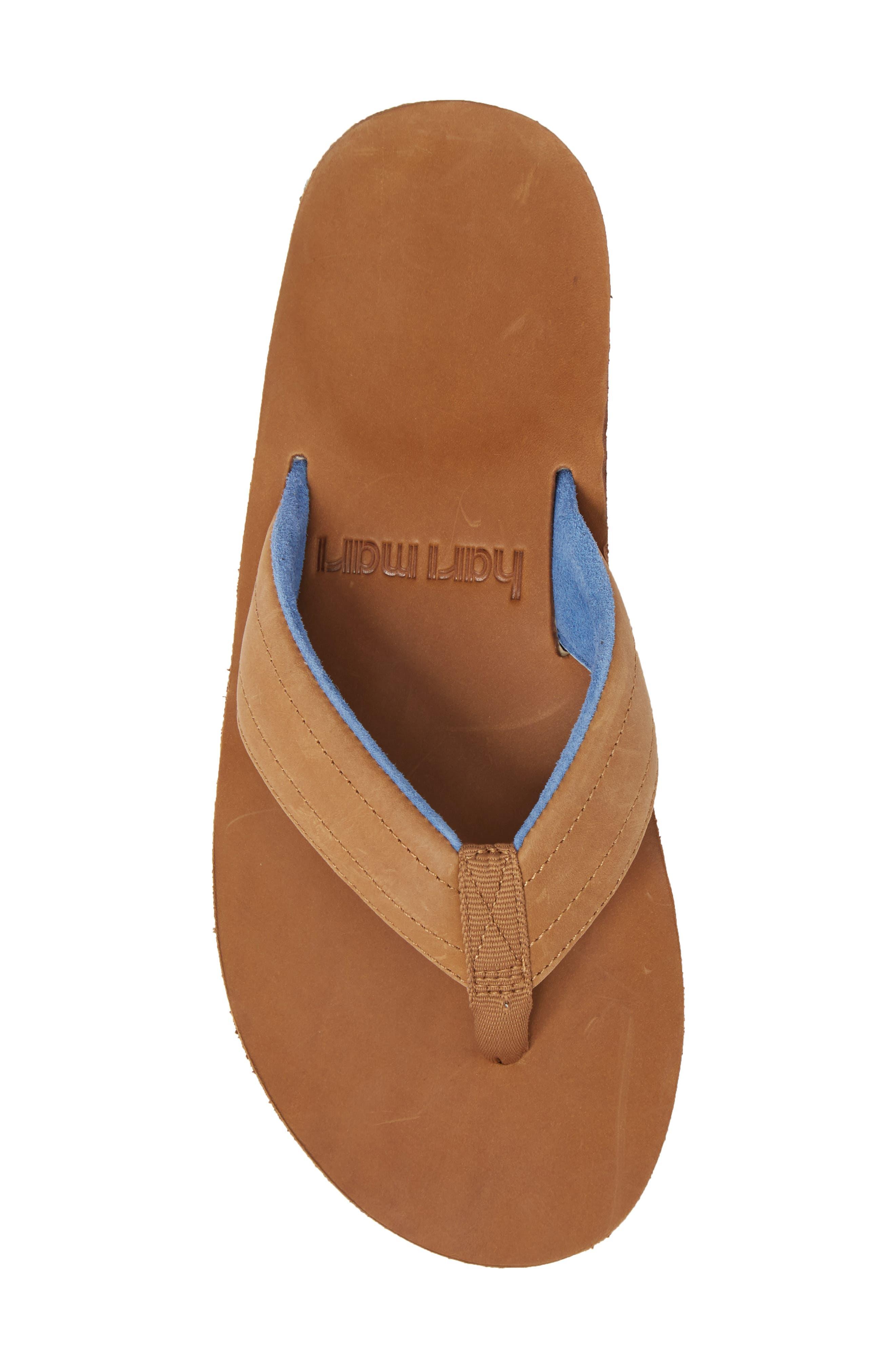 Lakes Sandwich Stripe Flip Flop,                             Alternate thumbnail 5, color,                             Tan/ Navy Leather
