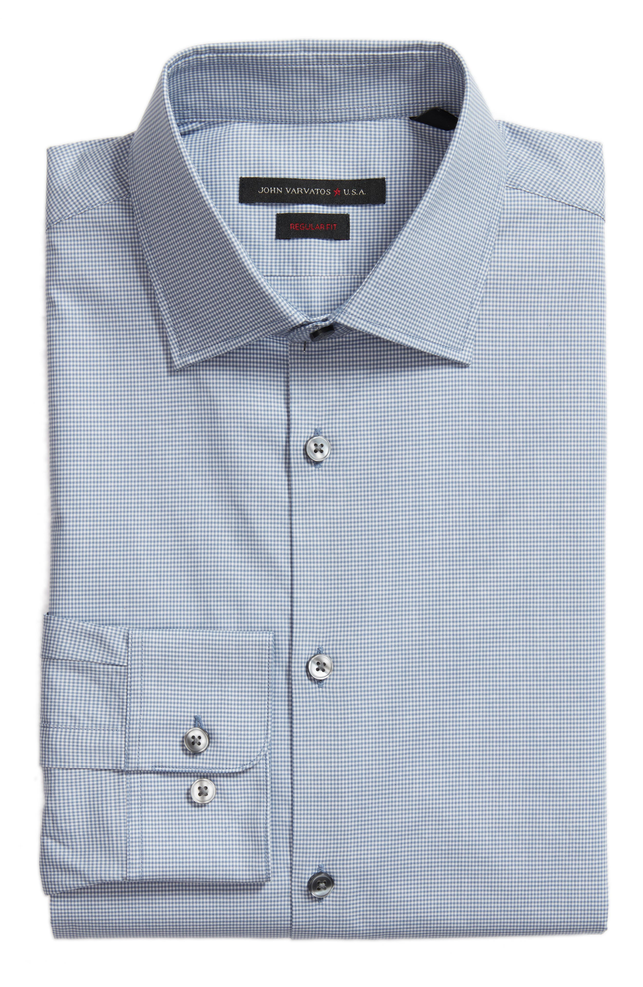 Regular Fit Stretch Microcheck Dress Shirt,                             Alternate thumbnail 6, color,                             Dusted Blue