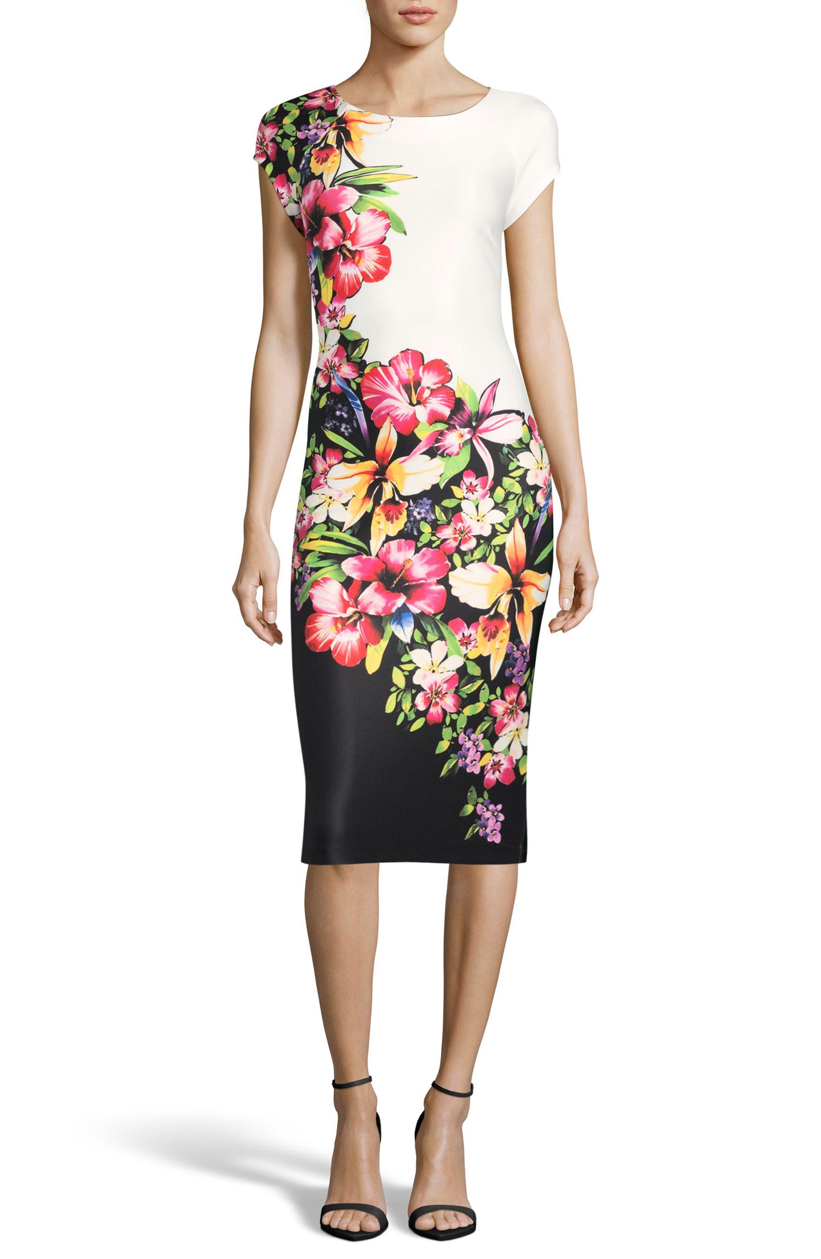 Tropical Print Sheath Dress,                             Main thumbnail 1, color,                             Black/ Pink