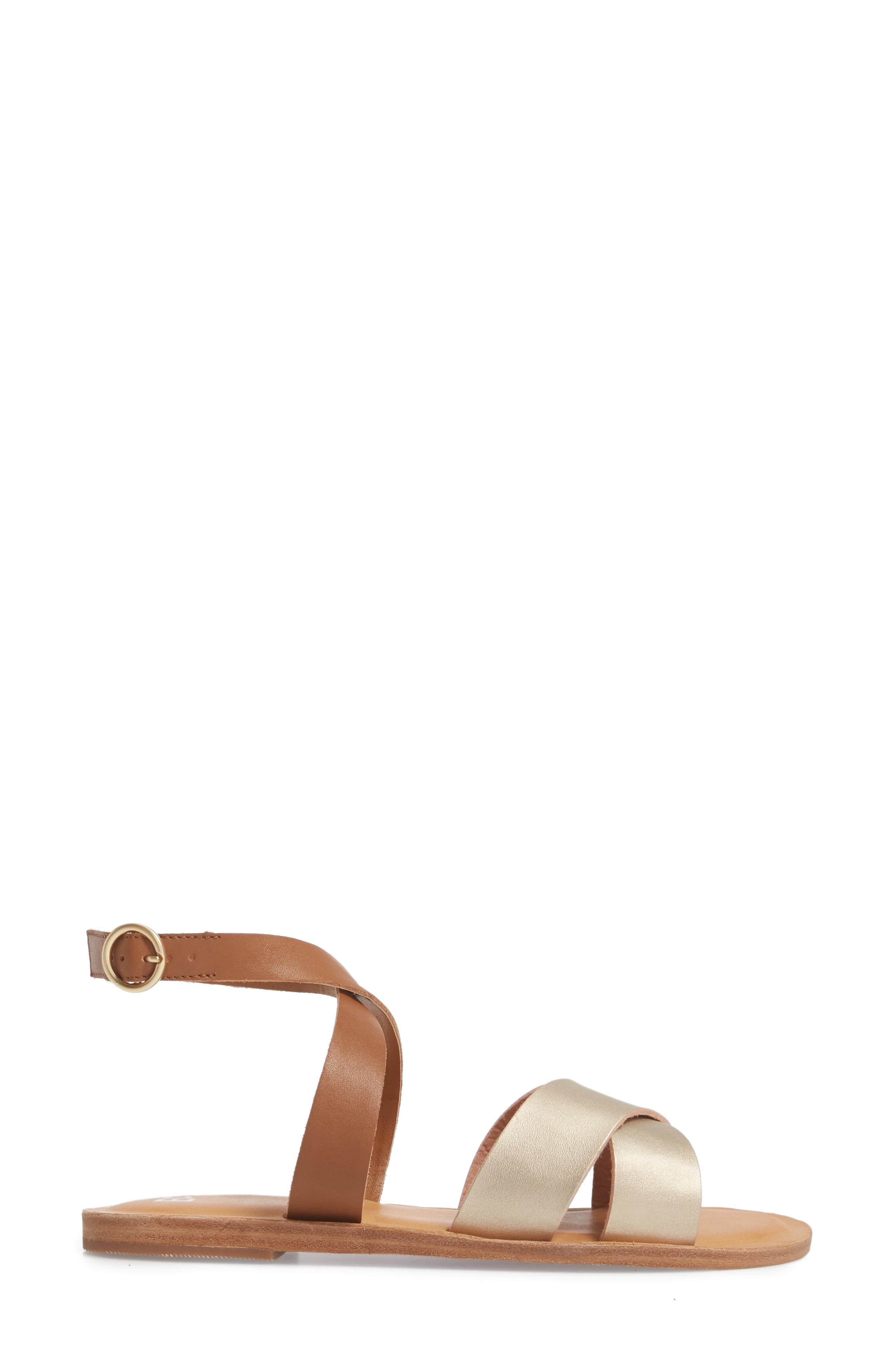 Reed Strappy Flat Sandal,                             Alternate thumbnail 3, color,                             Gold/Cognac