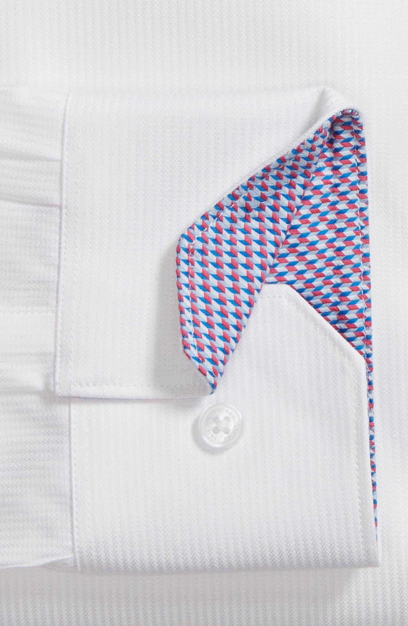 Becker Trim Fit Stripe Dress Shirt,                             Alternate thumbnail 5, color,                             White