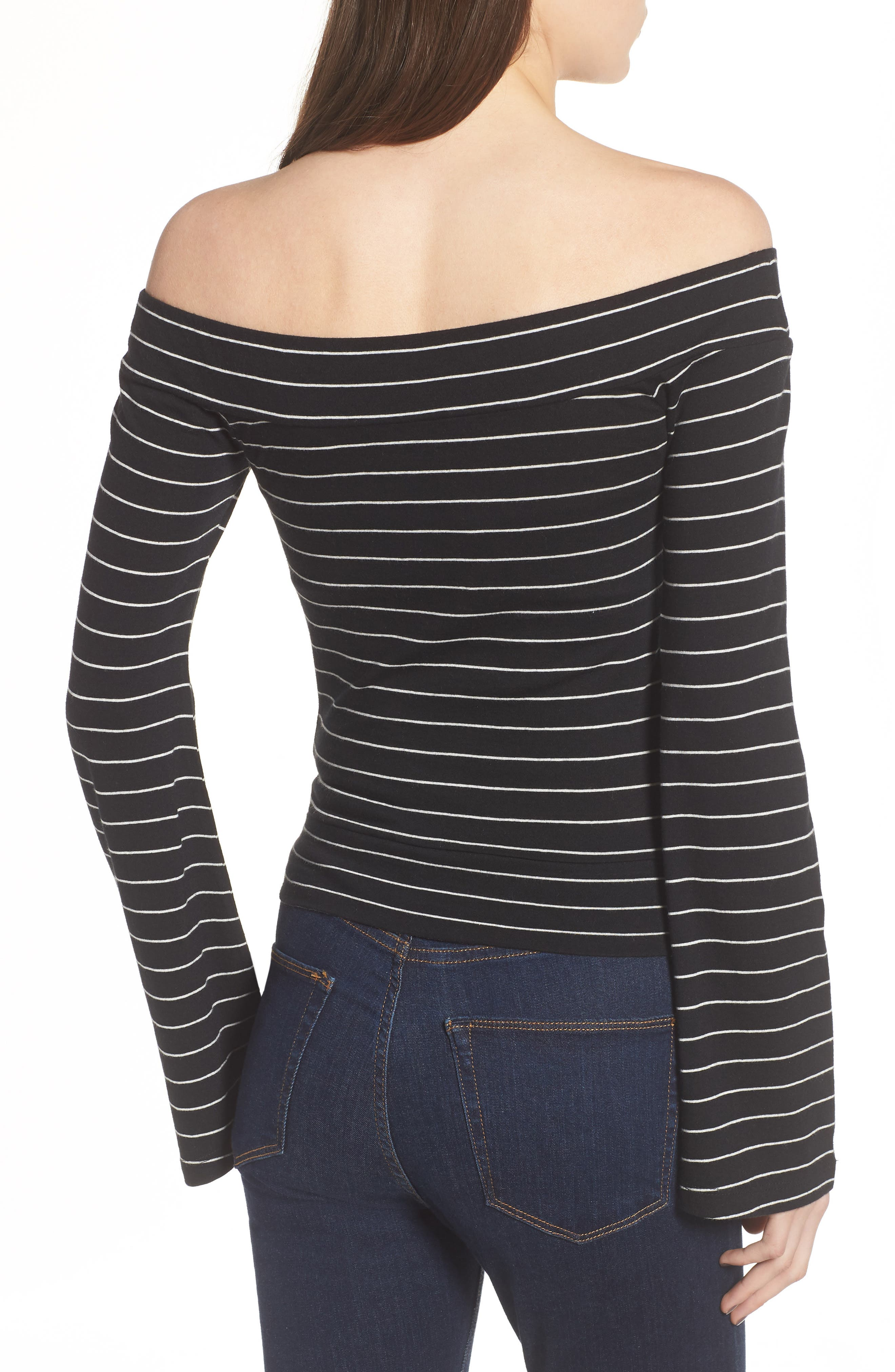 Stripe Twist Front Off the Shoulder Top,                             Alternate thumbnail 2, color,                             Black Jess Strp