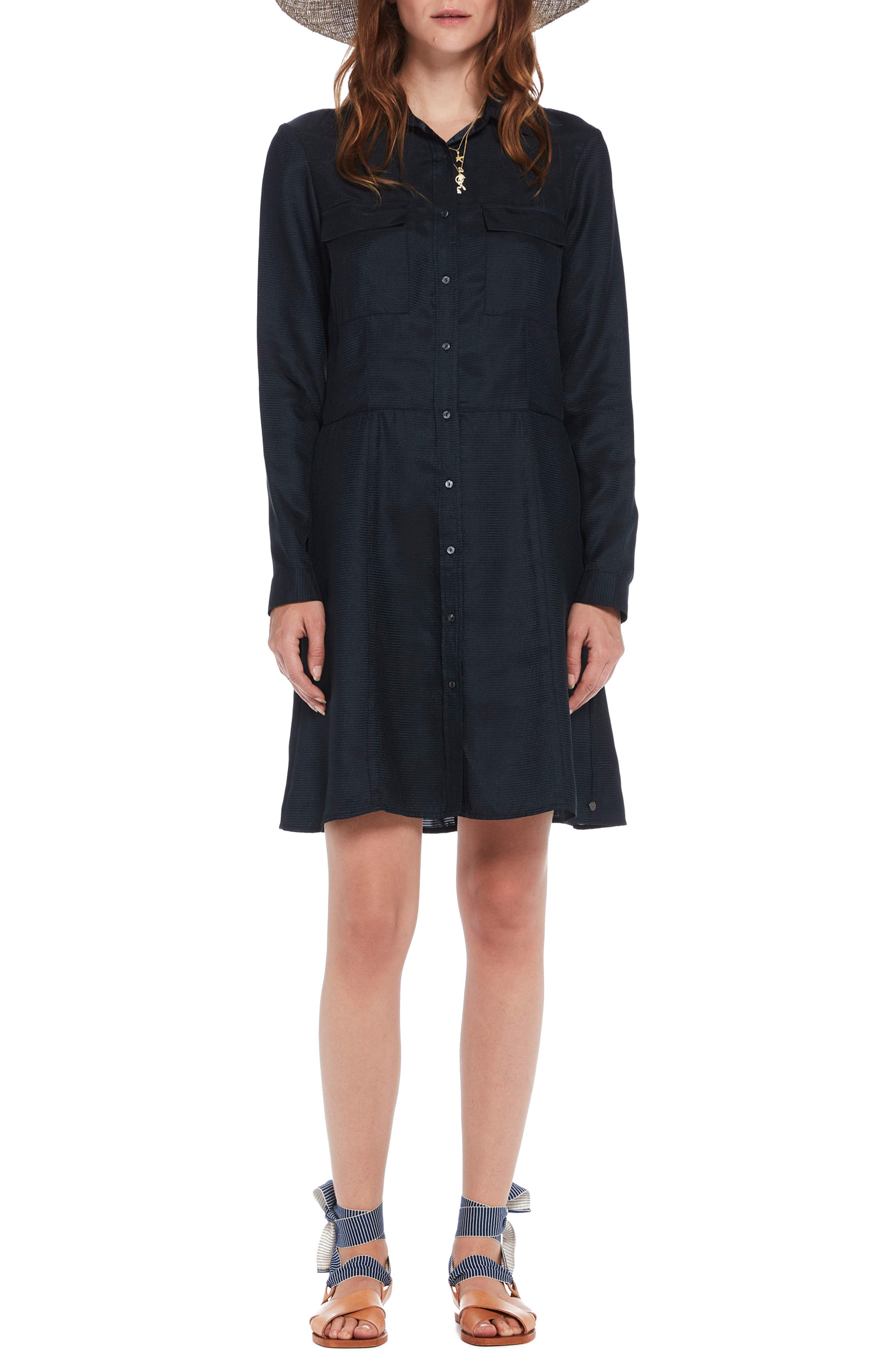 Long Sleeve Shirtdress,                         Main,                         color, Color 02 Night