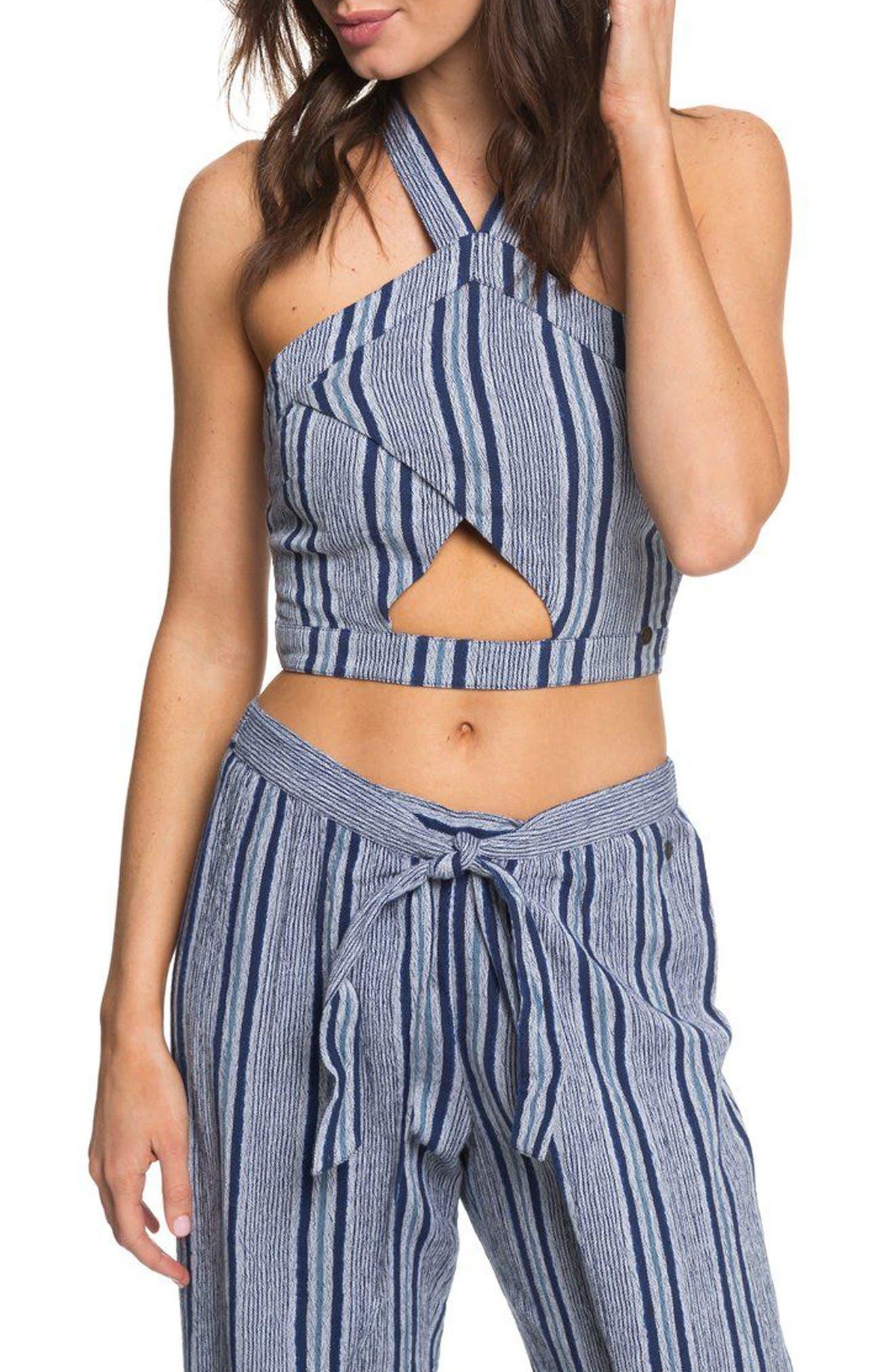 Jessa Cutout Halter Crop Top,                             Main thumbnail 1, color,                             Deep Cobalt Cherokee Stripe