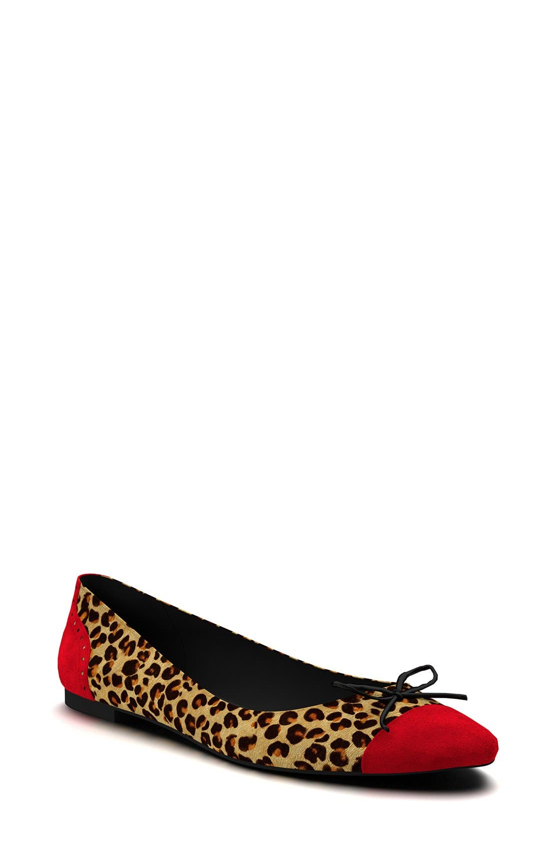 Main Image - Shoes of Prey Cap Toe Genuine Calf Hair Ballet Flat (Women)