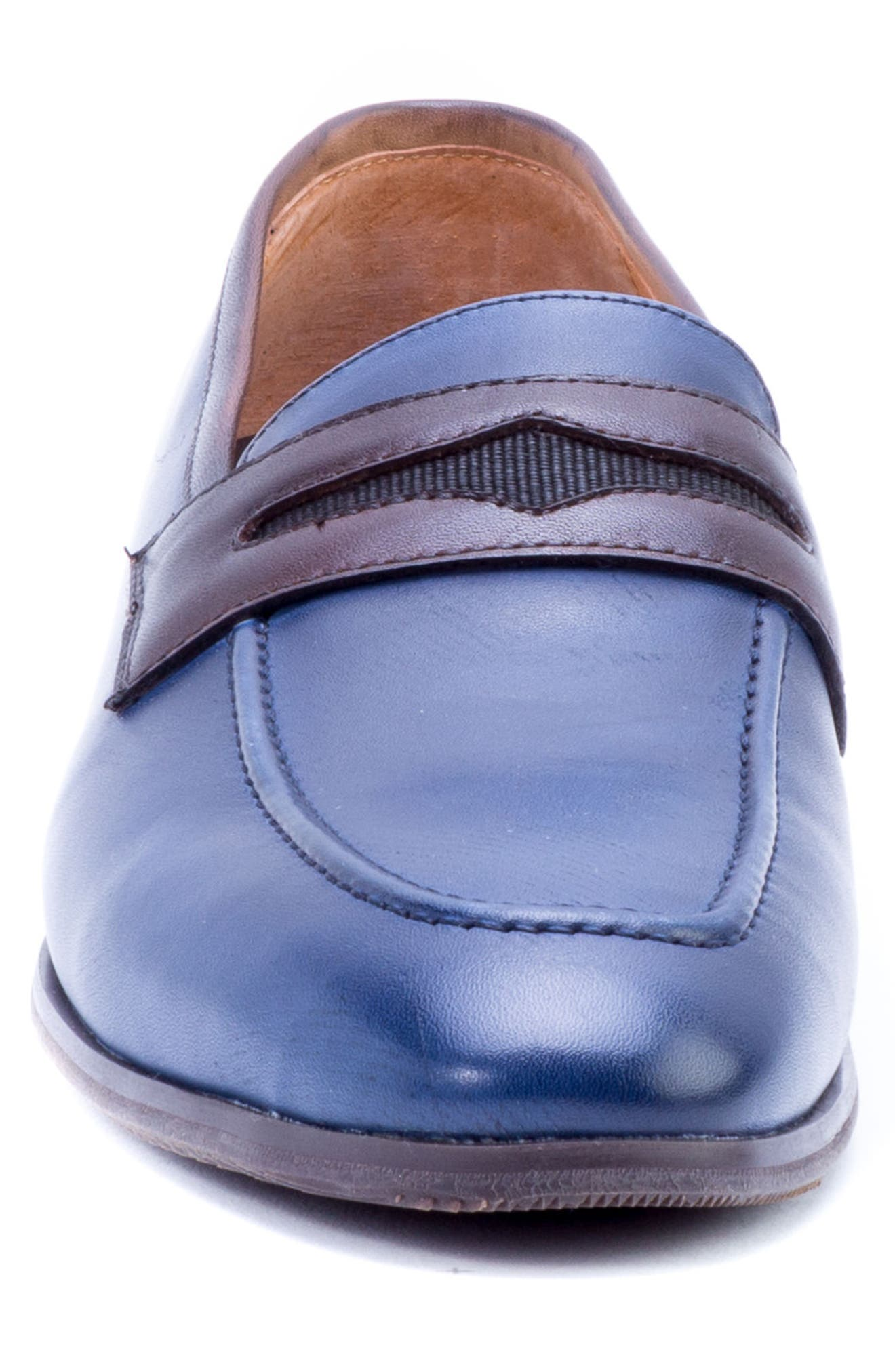 Apron Toe Penny Loafer,                             Alternate thumbnail 4, color,                             Navy Leather