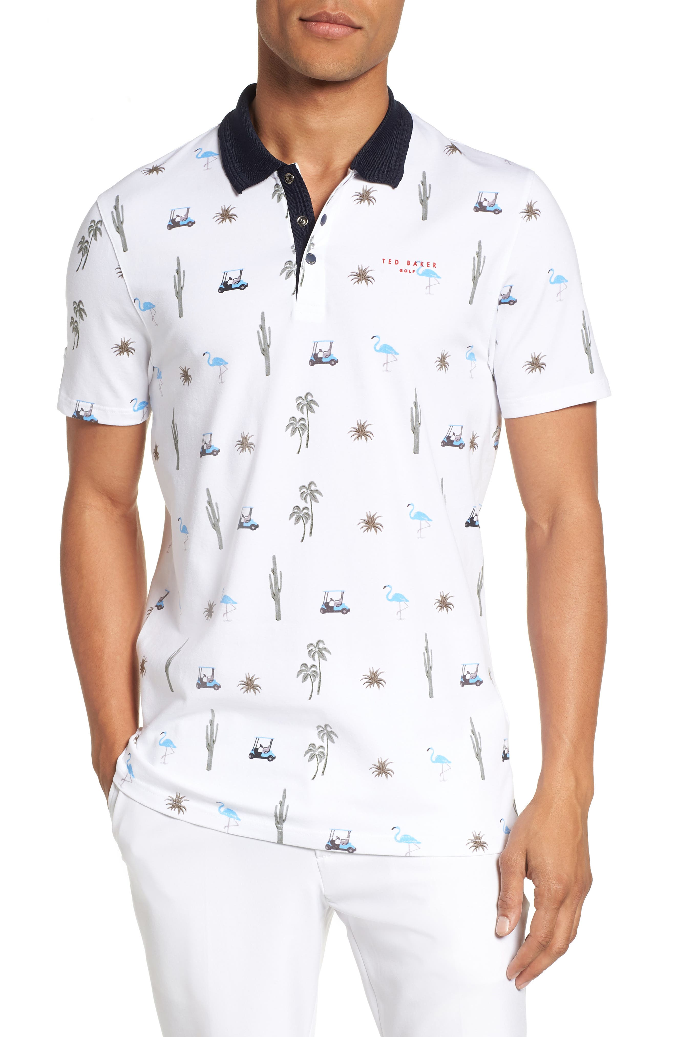 Trim Fit Golf Print Polo,                         Main,                         color, White