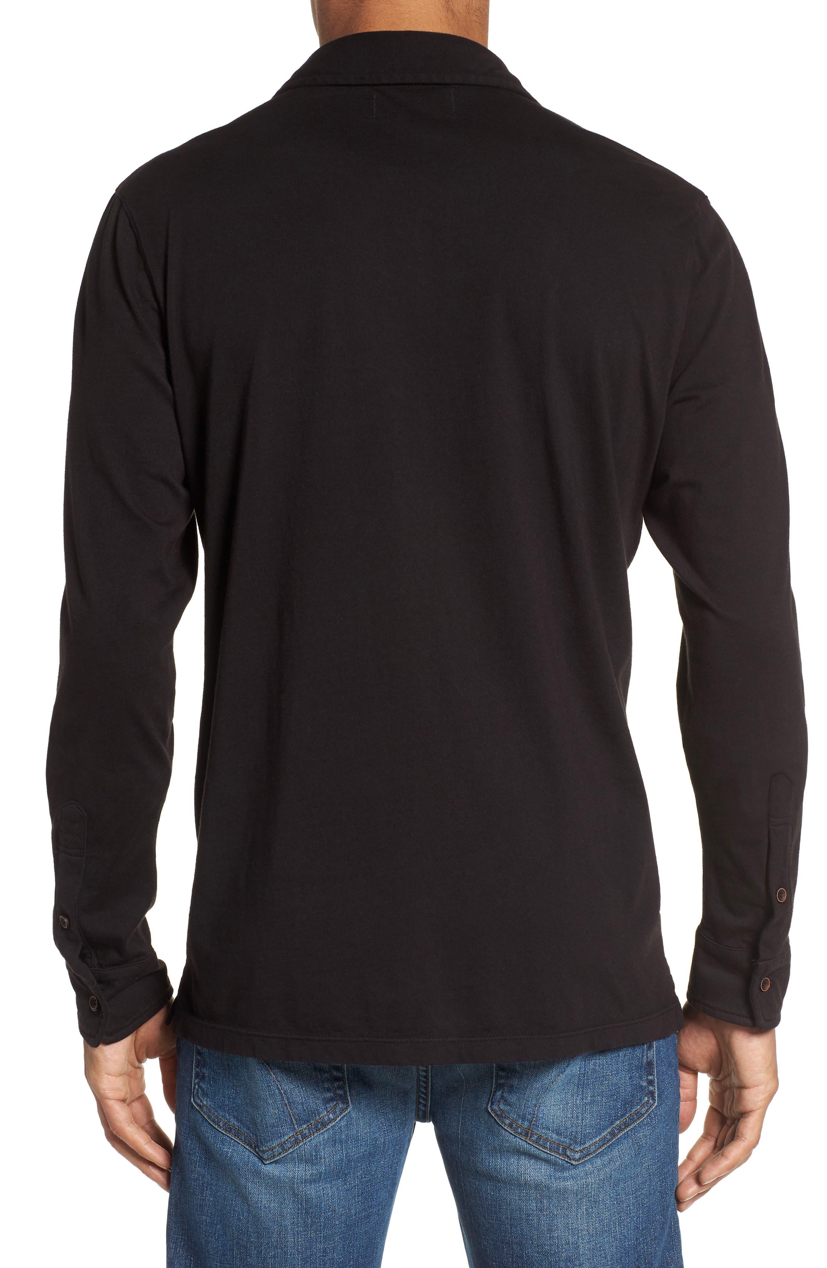Long Sleeve Jersey Polo,                             Alternate thumbnail 2, color,                             Black