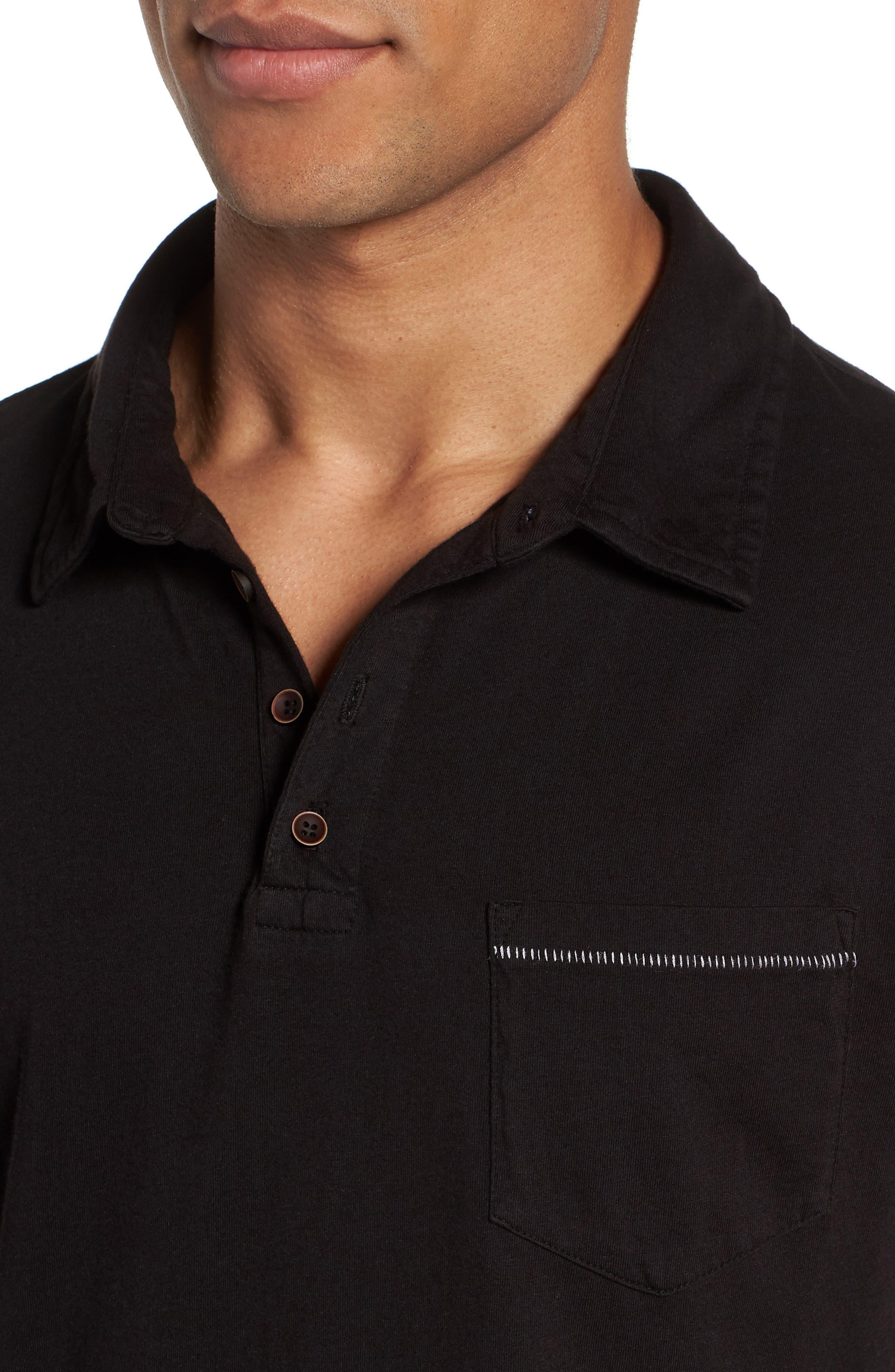 Long Sleeve Jersey Polo,                             Alternate thumbnail 4, color,                             Black