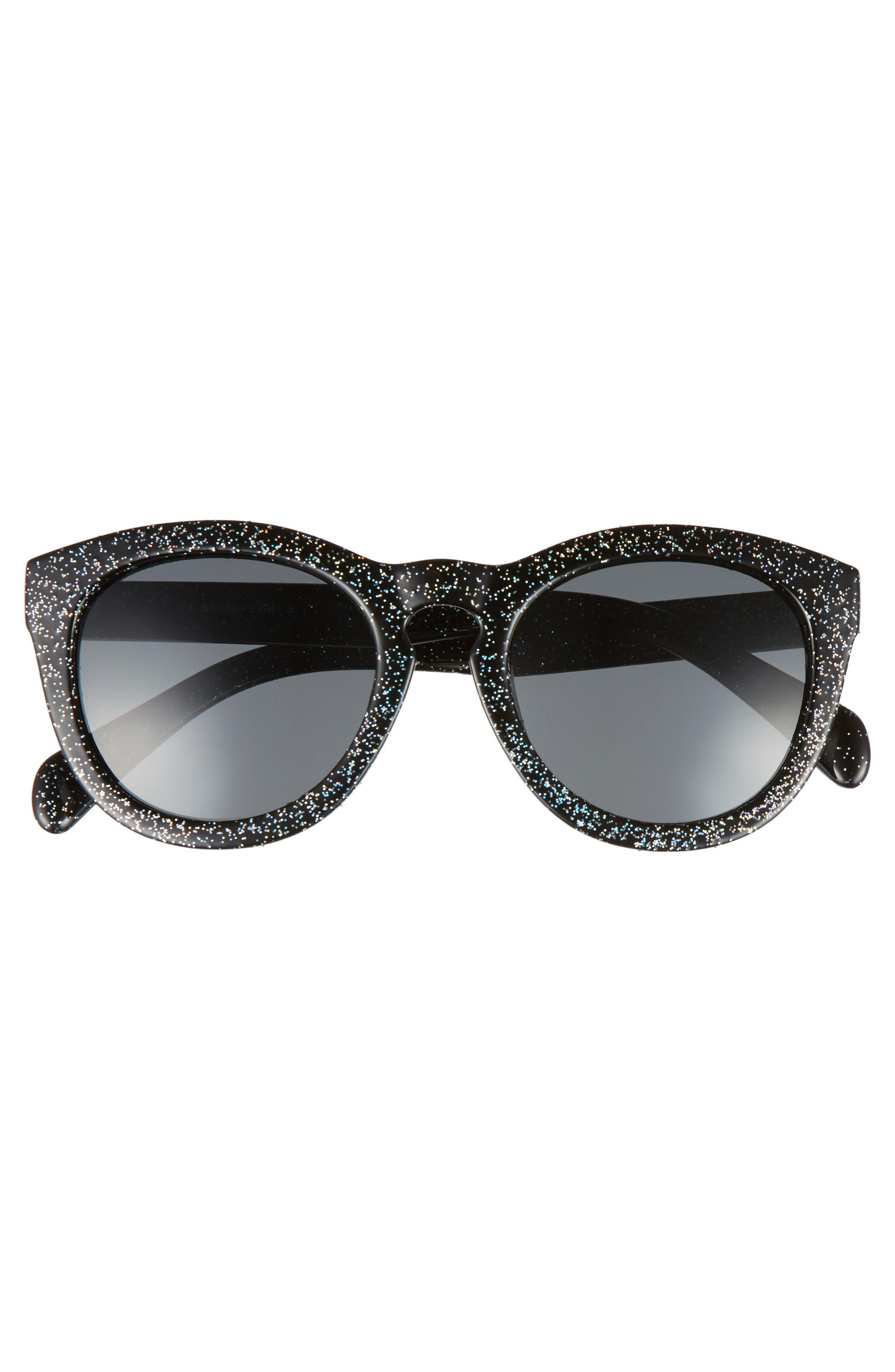 50mm Glitter Round Sunglasses,                             Alternate thumbnail 3, color,                             Black