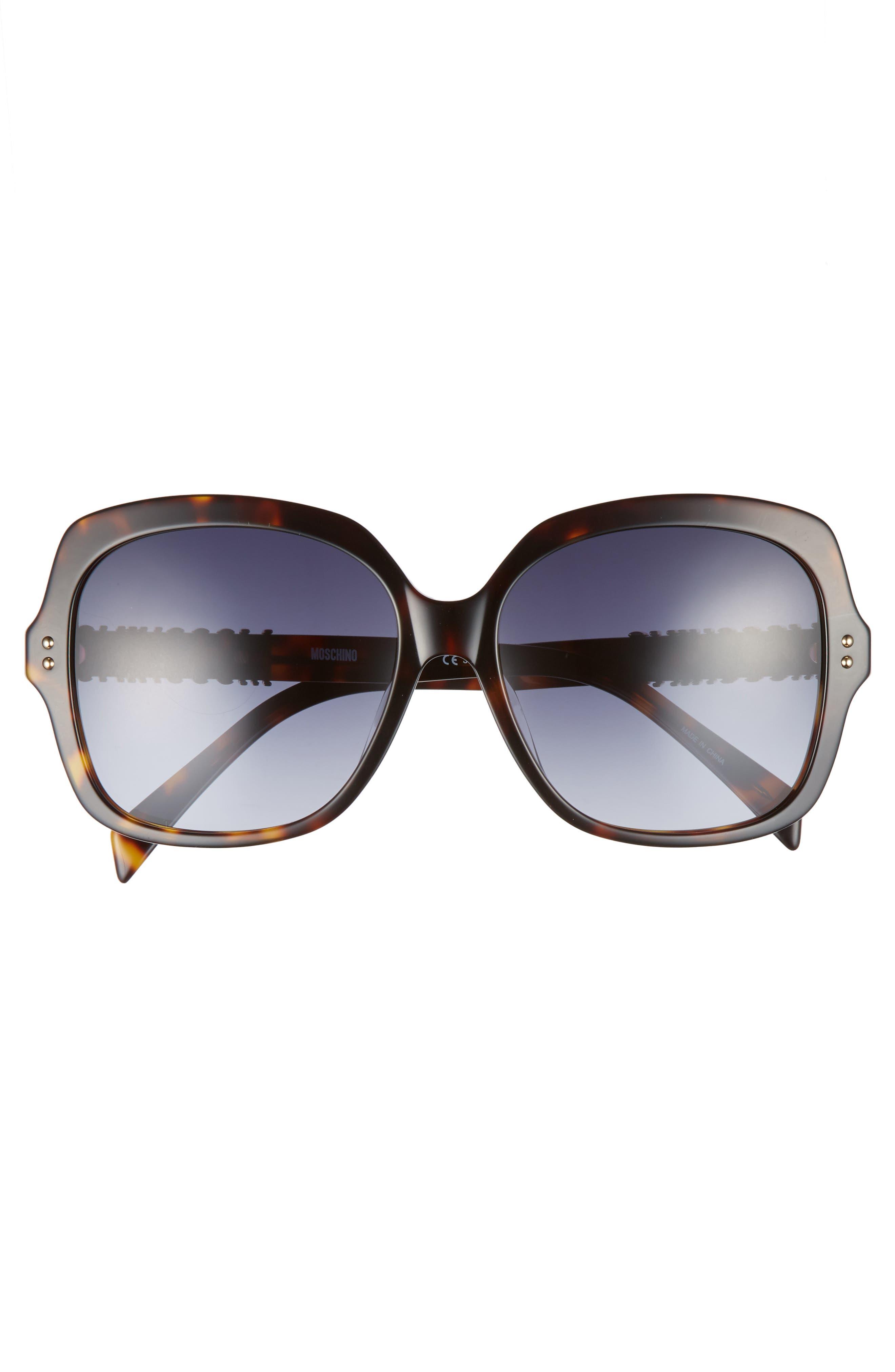 57mm Oversized Polarized Sunglasses,                             Alternate thumbnail 3, color,                             Dark Havana