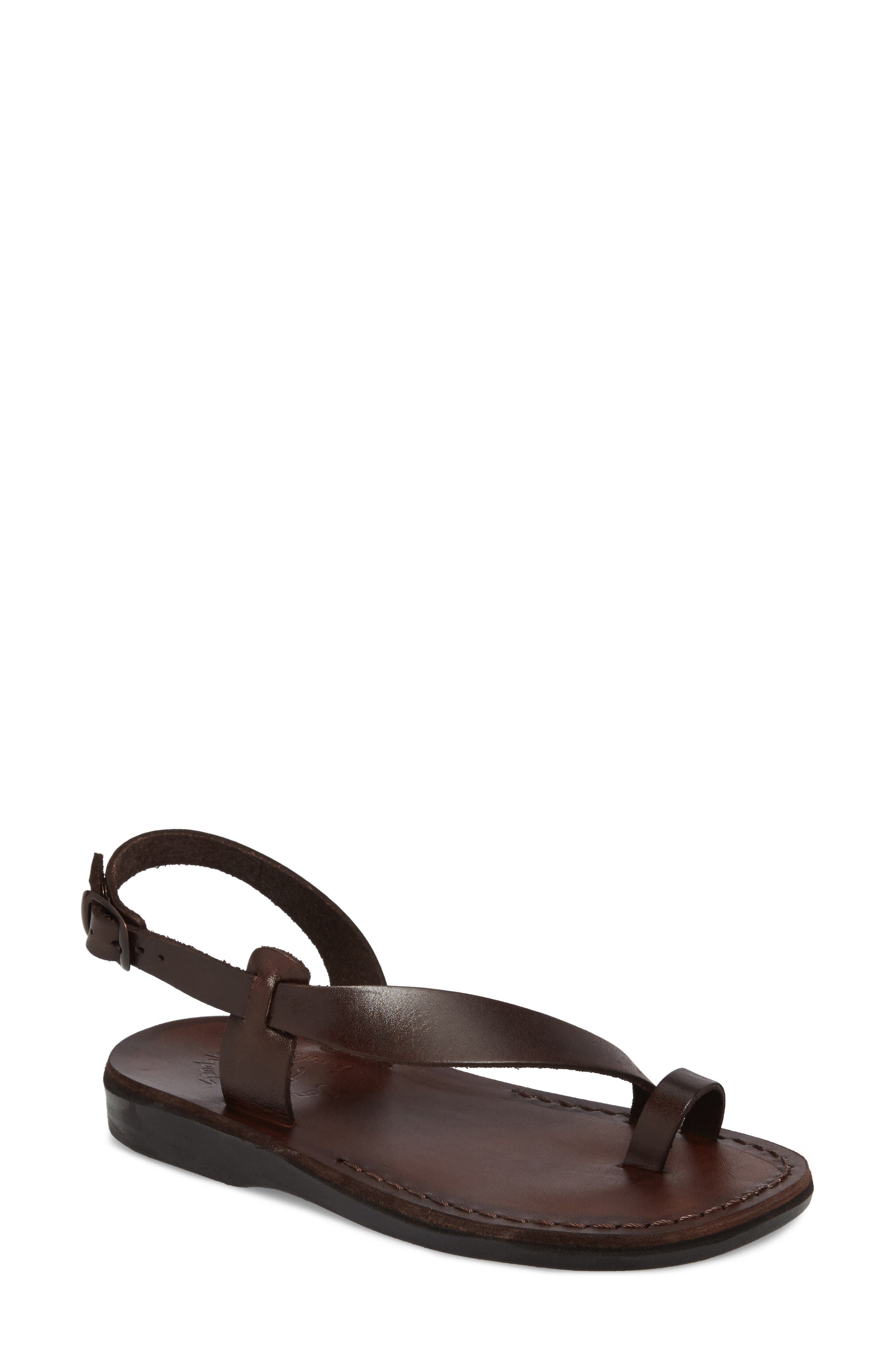 Mia Sandal,                             Main thumbnail 1, color,                             Brown Leather