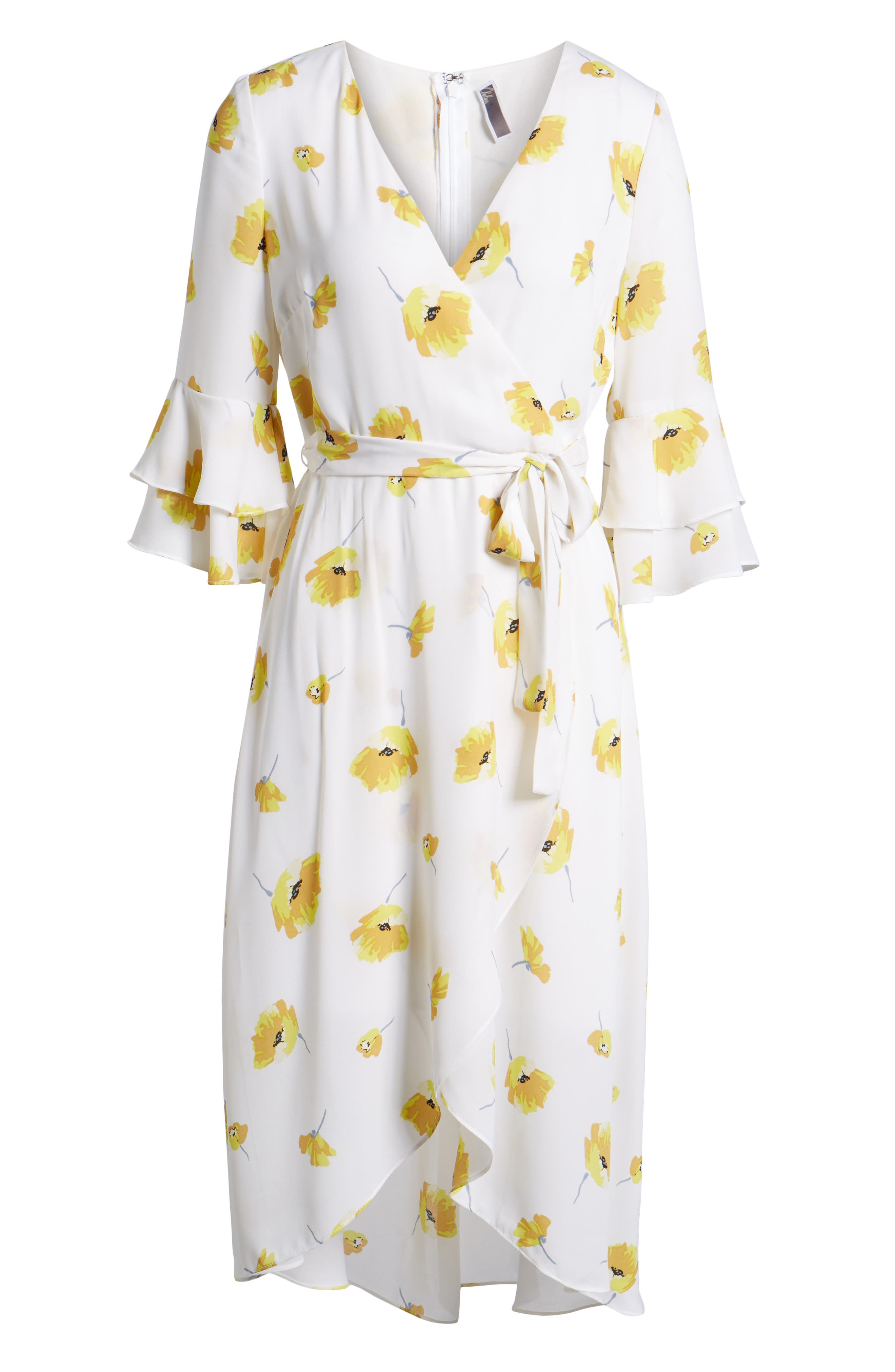 Floral Faux Wrap Dress,                             Alternate thumbnail 7, color,                             Ivory Gold Floral Print