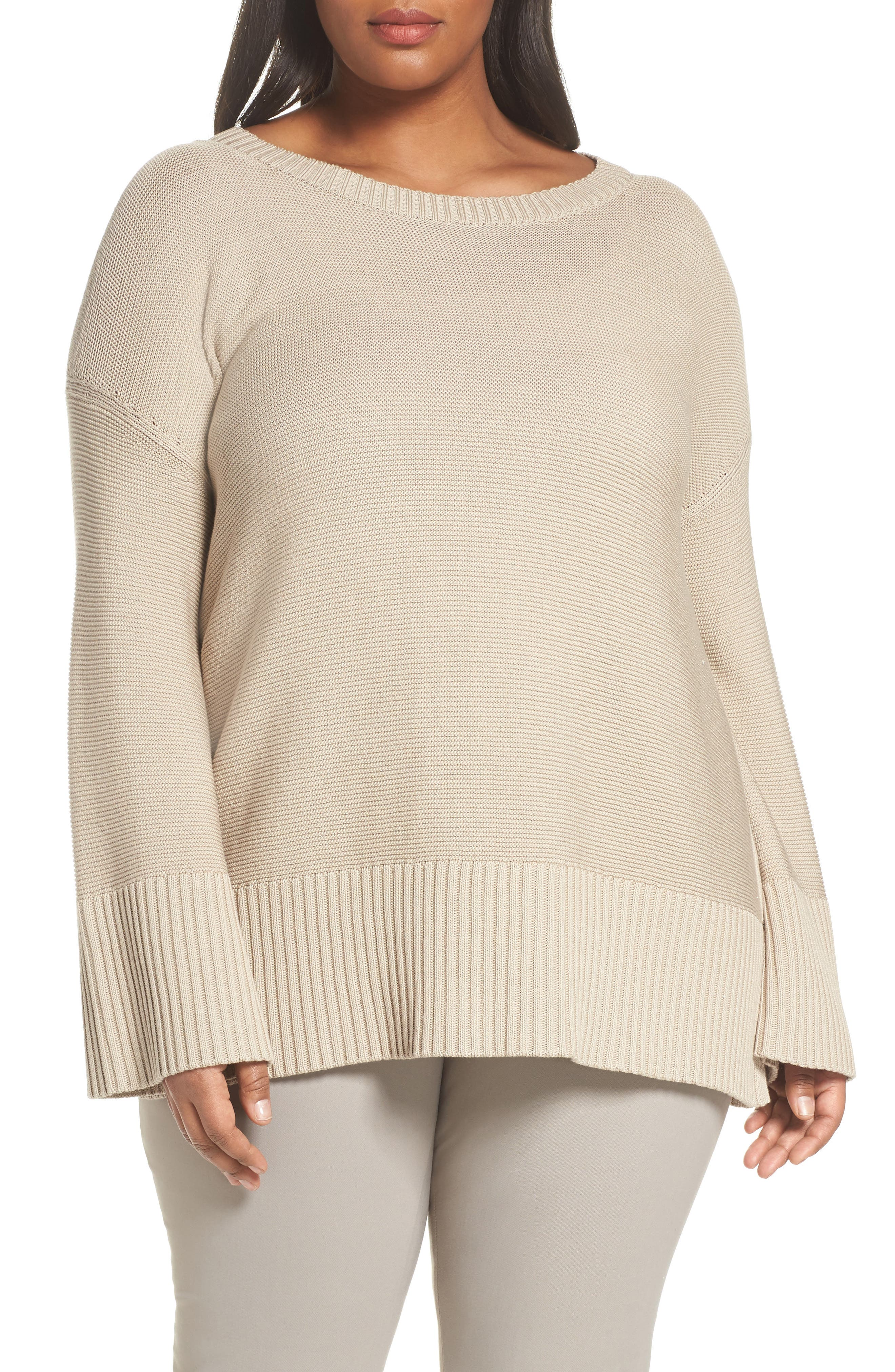 Lafayette 148 Silk and Cotton Sweater,                             Main thumbnail 1, color,                             Khaki