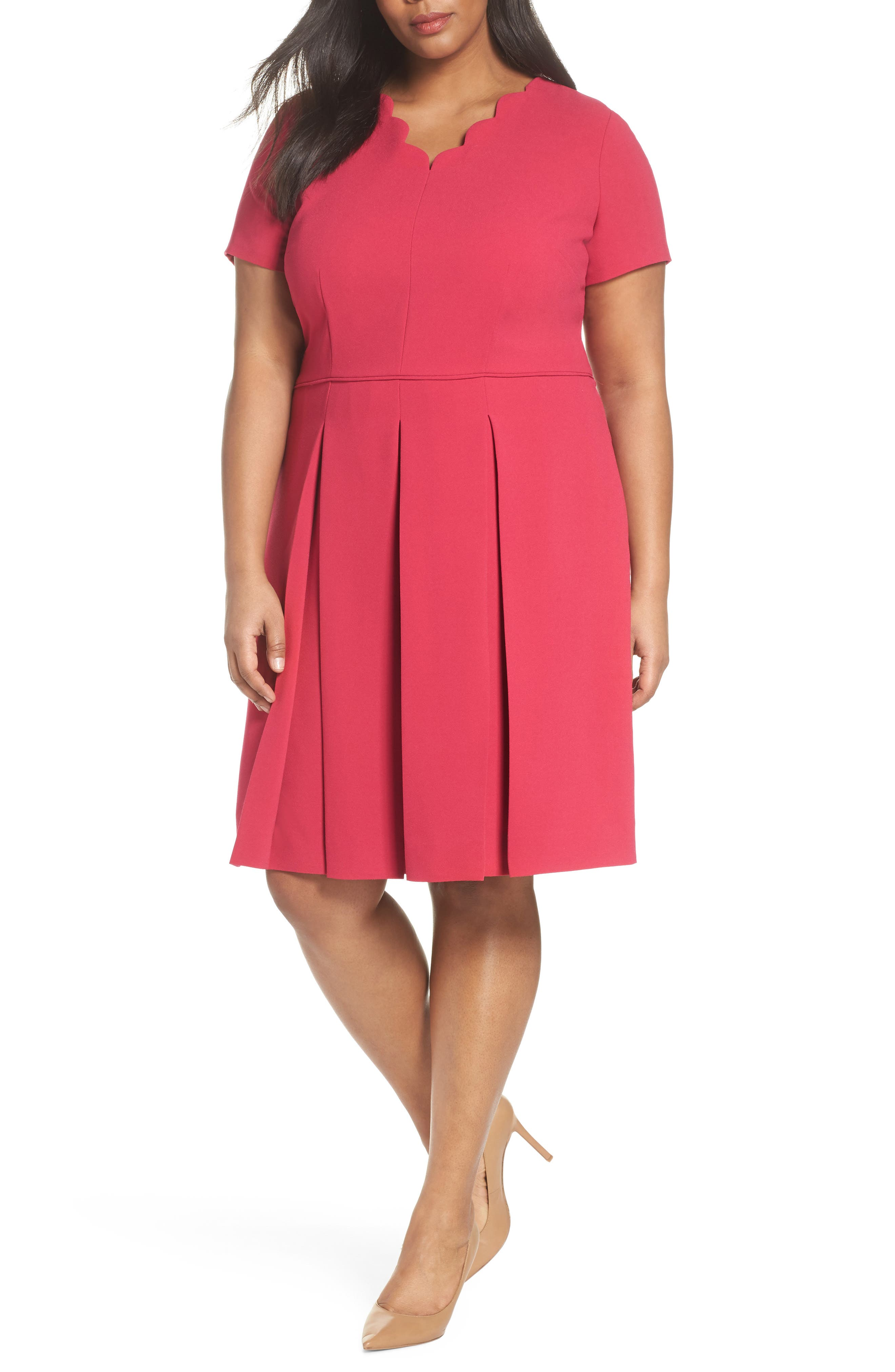Main Image - Tahari Scallop Neck A-Line Dress (Plus Size)