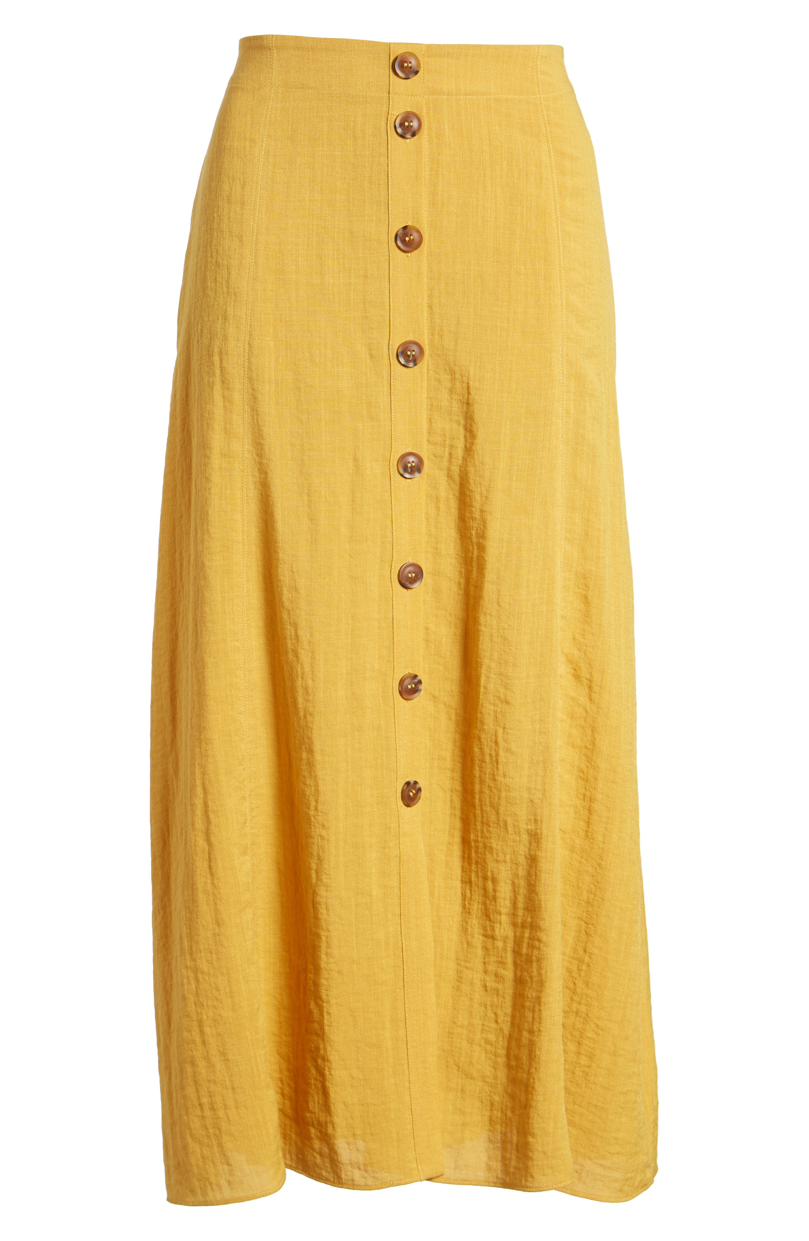 Button Front Midi Skirt,                             Alternate thumbnail 6, color,                             Mustard