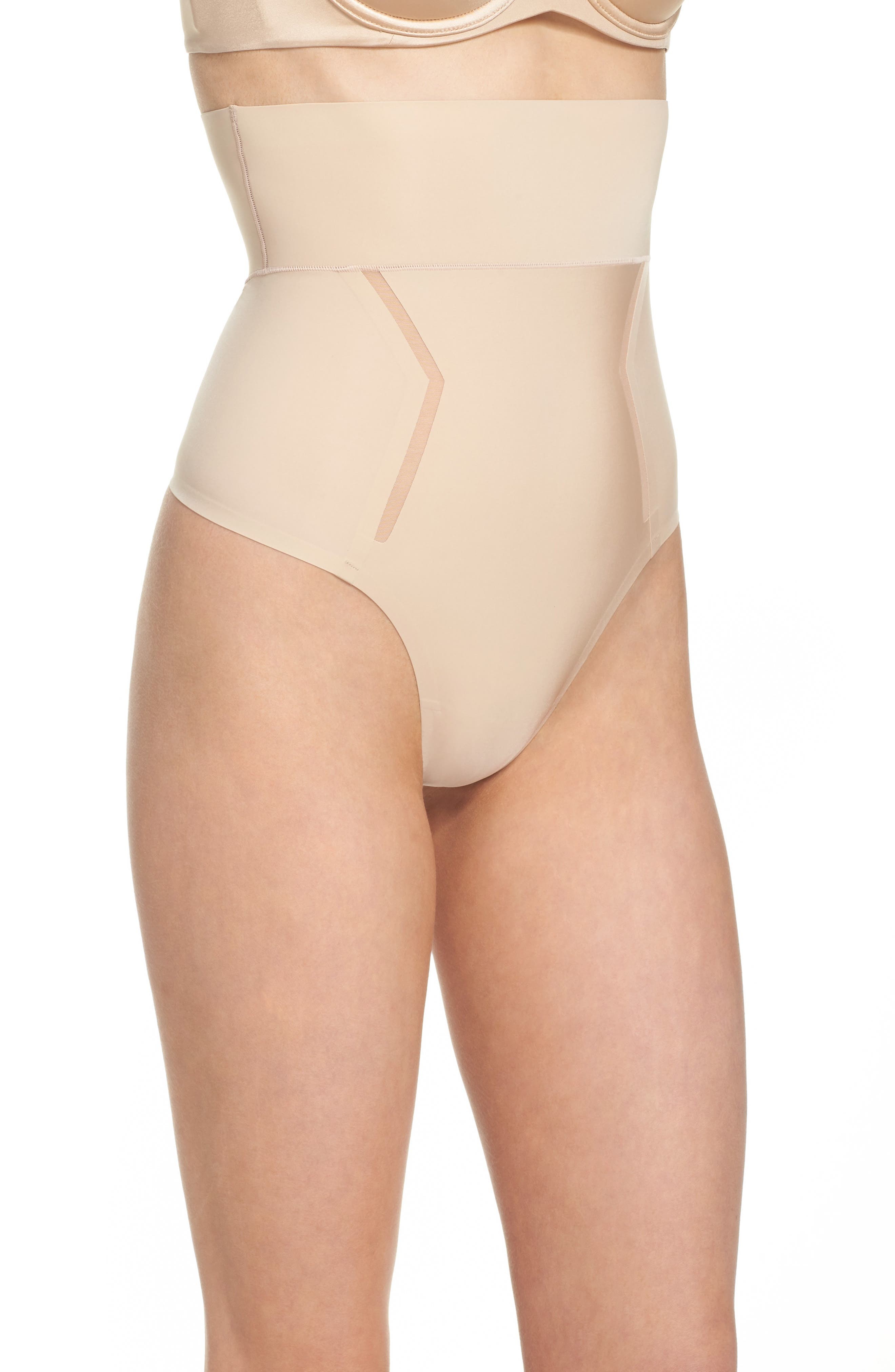 Sculpted Shapewear High Waist Thong,                             Alternate thumbnail 3, color,                             Bare