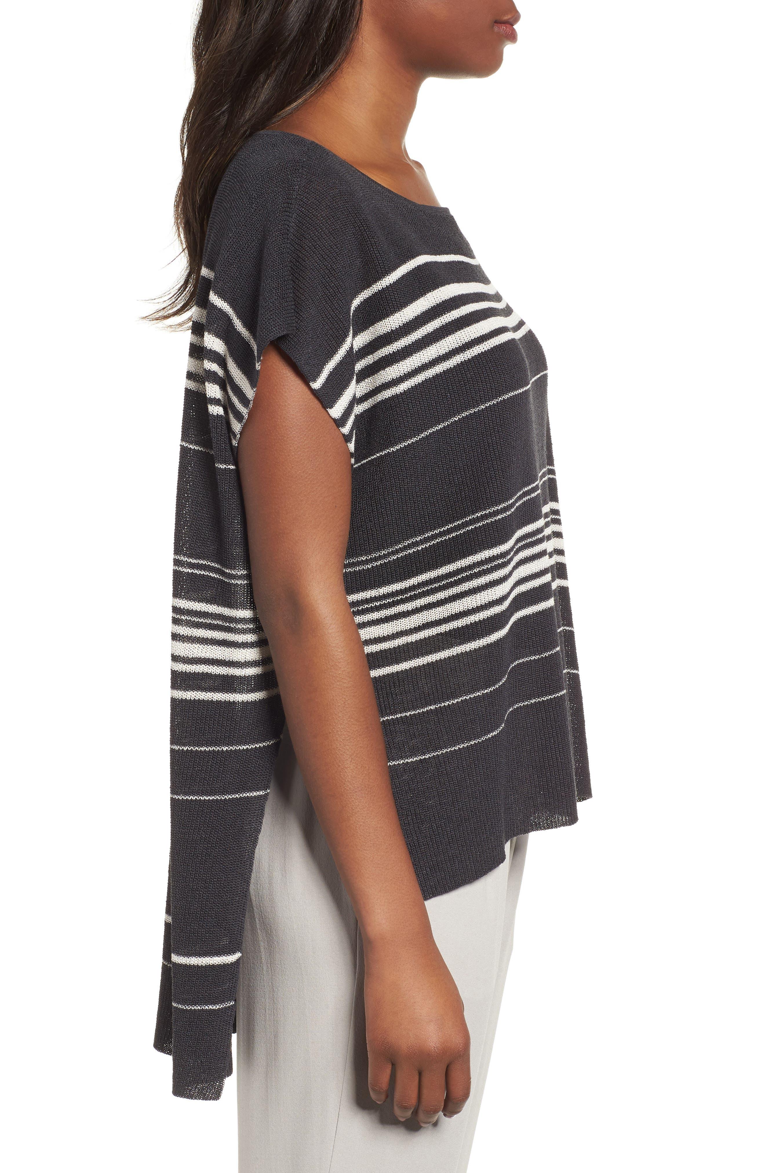 Organic Linen Blend Poncho Sweater,                             Alternate thumbnail 3, color,                             Graphite/ Bone