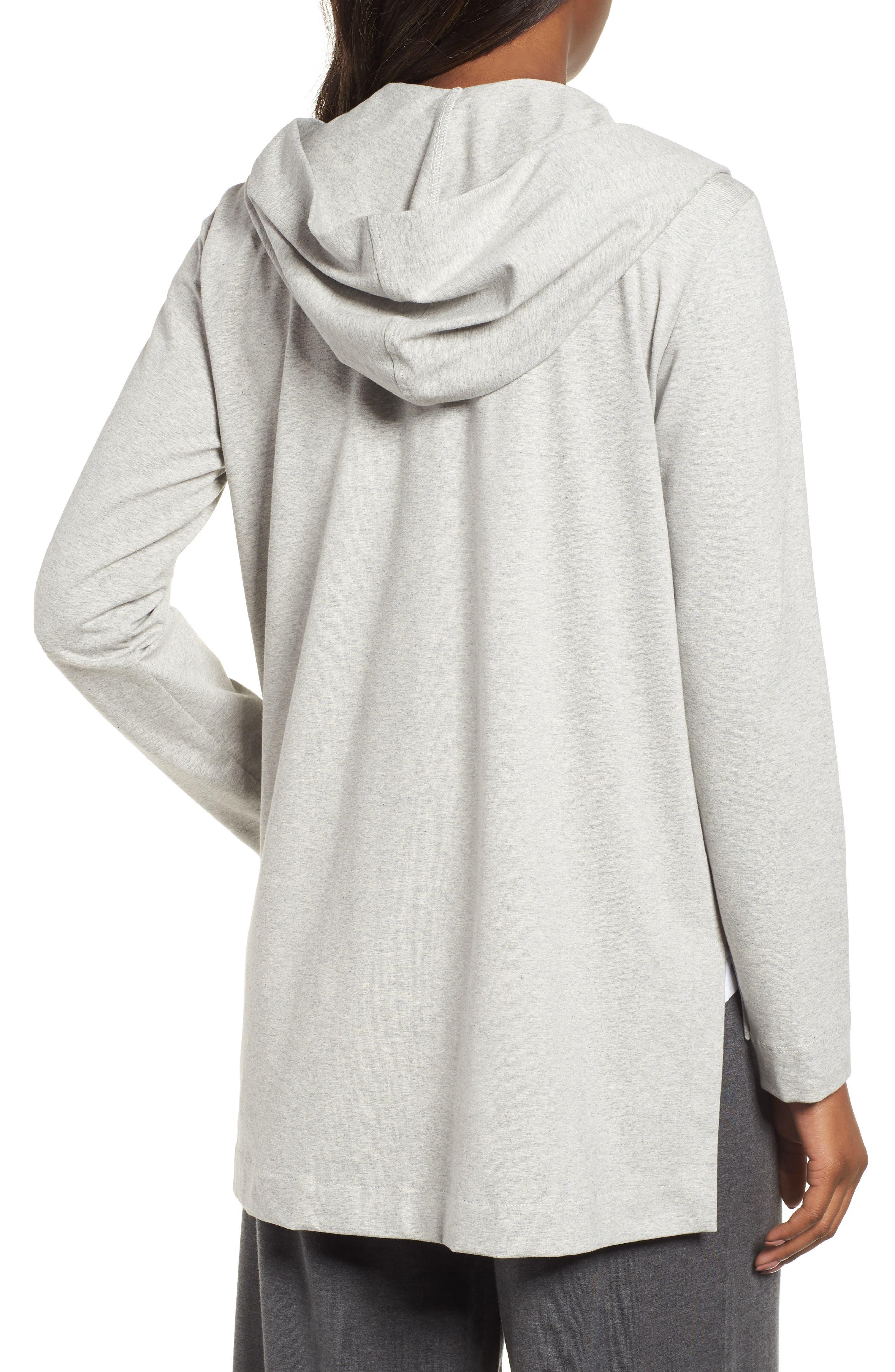 Hooded Stretch Organic Cotton Cardigan,                             Alternate thumbnail 2, color,                             Dark Pearl