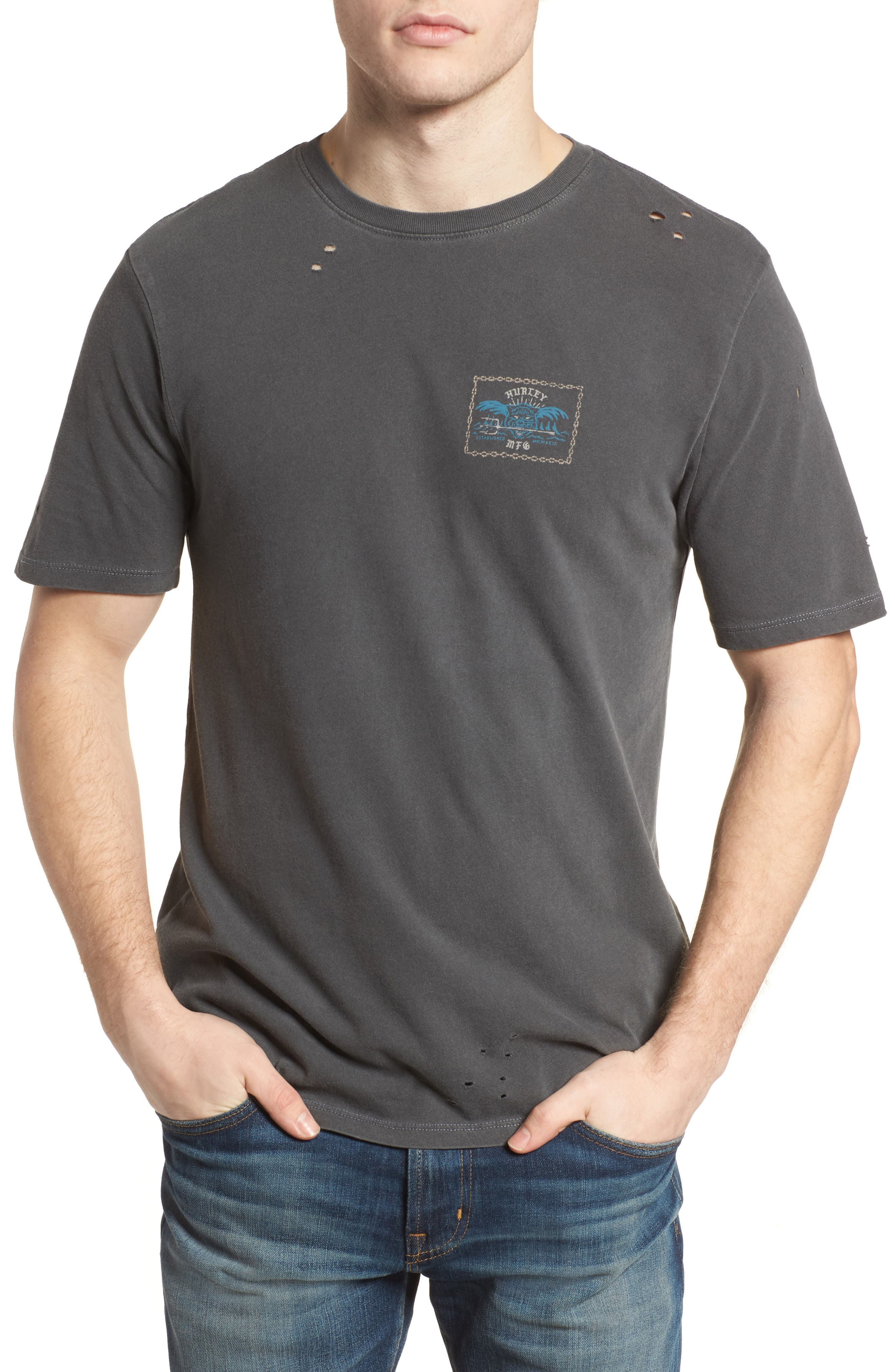 Chained Up Destroyed T-Shirt,                         Main,                         color, Anthracite