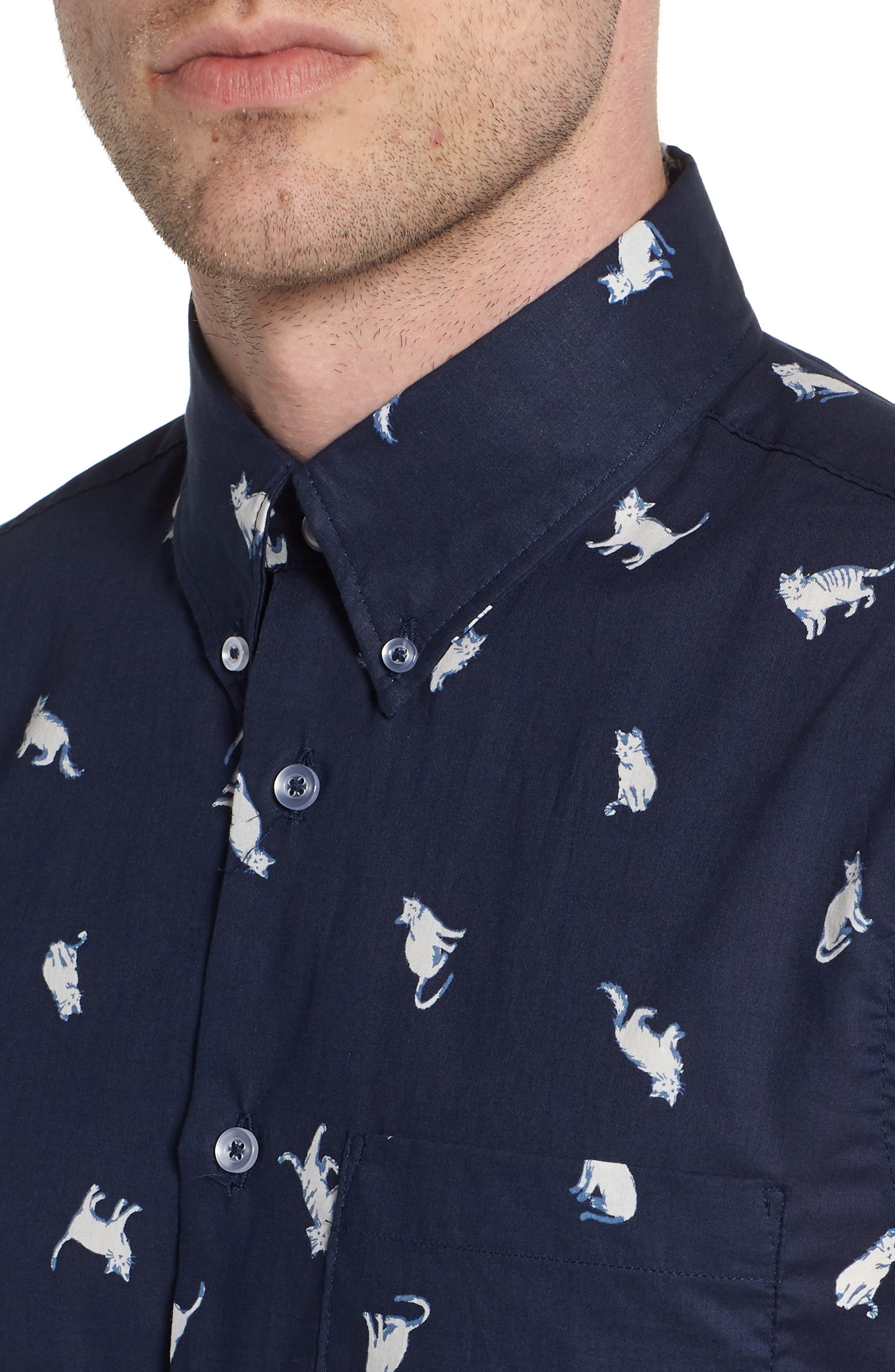 Hand-Drawn Cats Woven Shirt,                             Alternate thumbnail 4, color,                             Navy