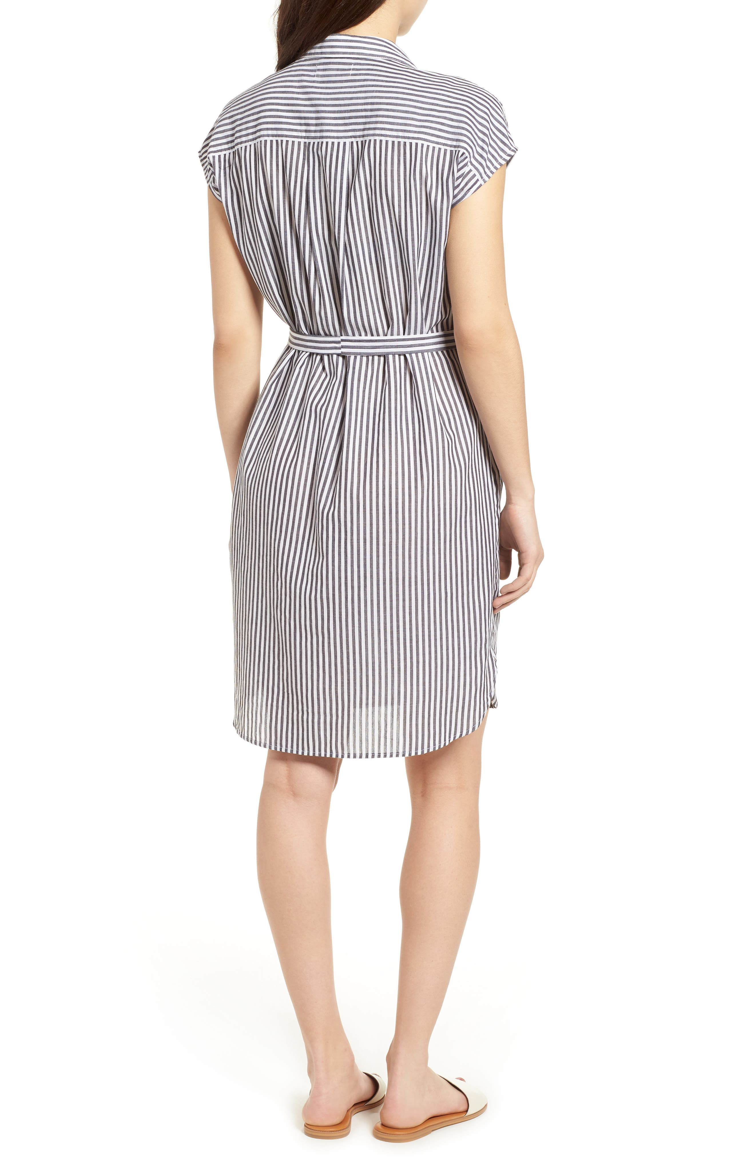 Stripe Belted Cotton Shirtdress,                             Alternate thumbnail 2, color,                             Charcoal Grey