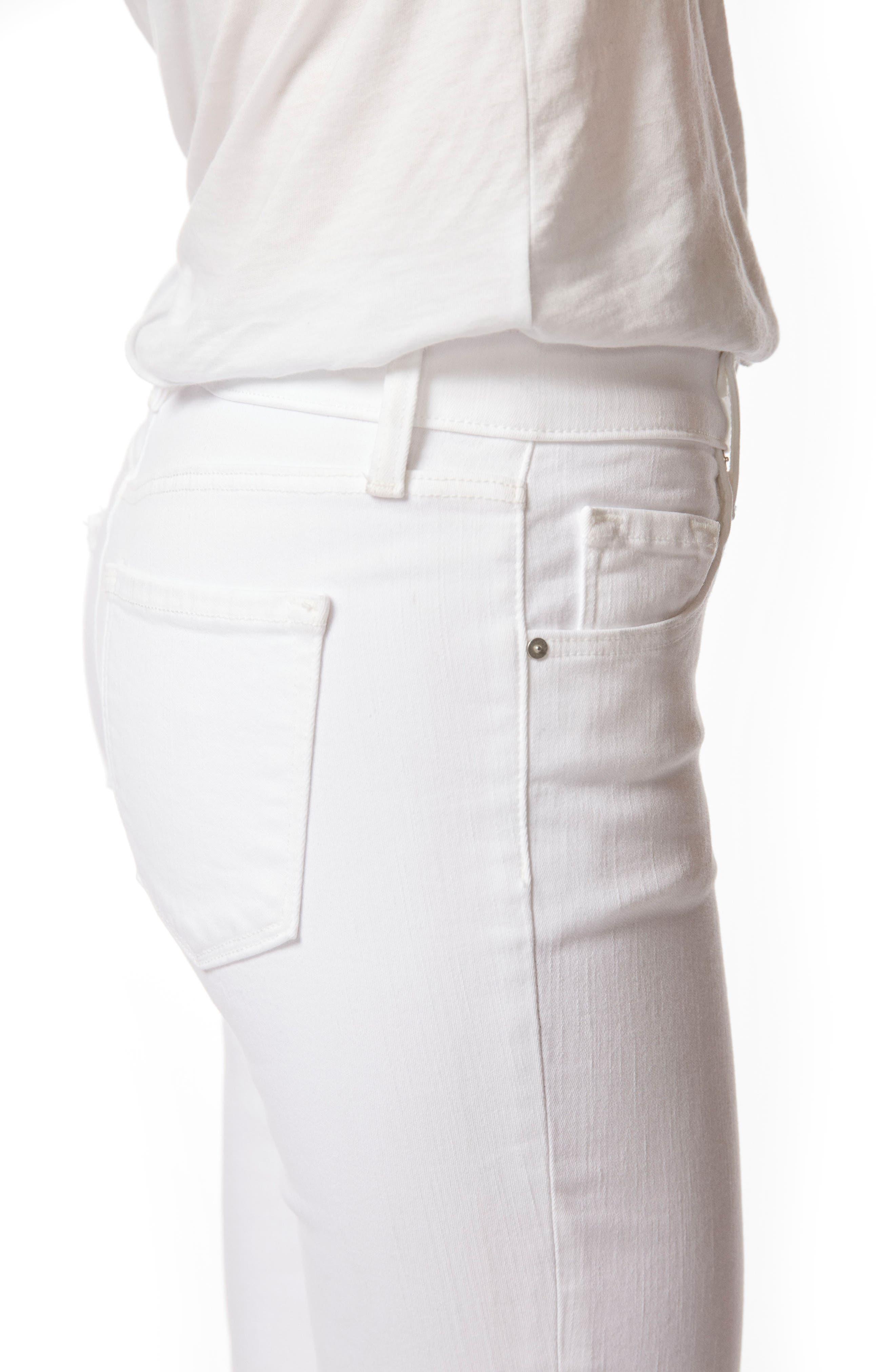Mid-Rise Capri Skinny Jeans,                             Alternate thumbnail 4, color,                             White