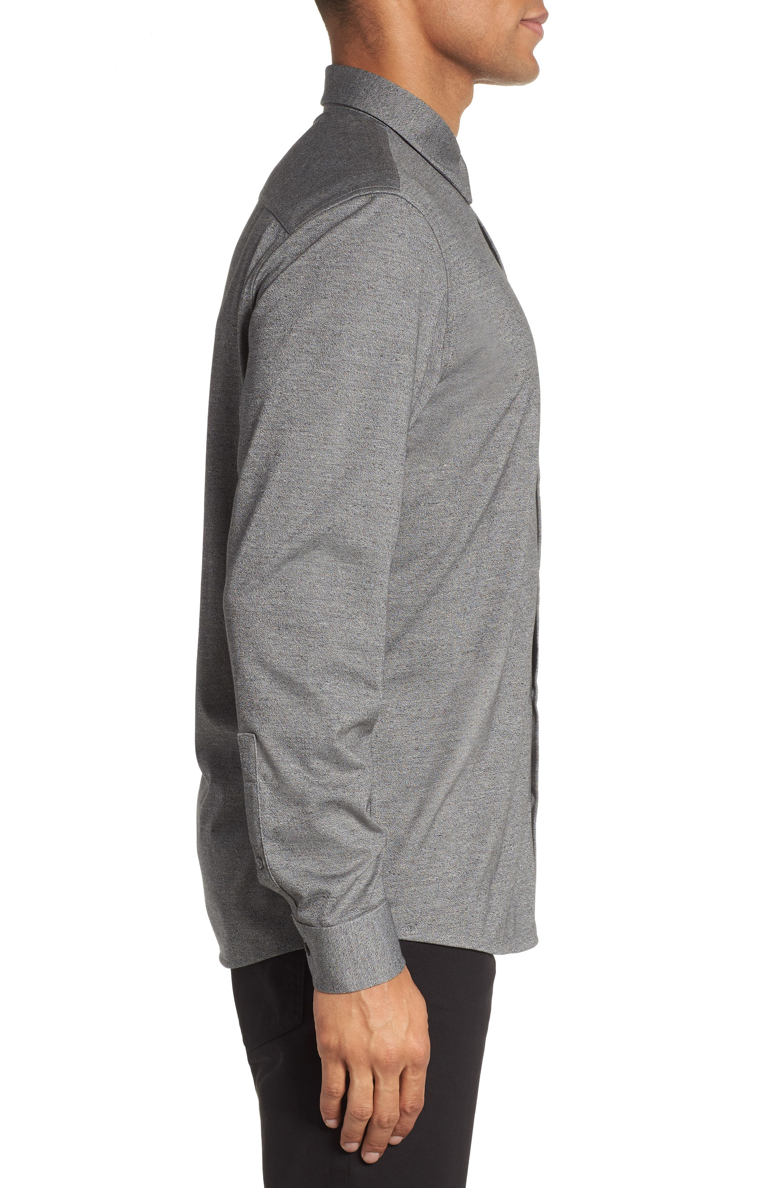 Knit Sport Shirt,                             Alternate thumbnail 3, color,                             Grey Micro Black Jaspe