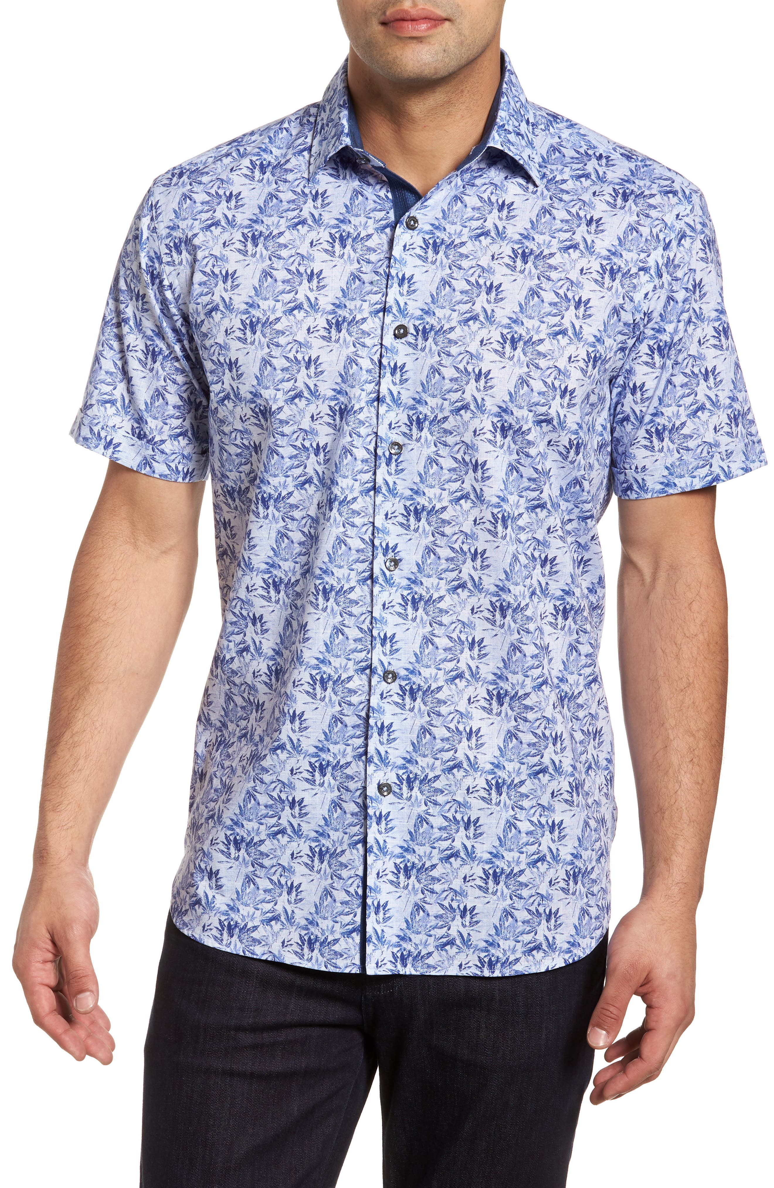 Classic Fit Woven Sport Shirt,                         Main,                         color, Sky