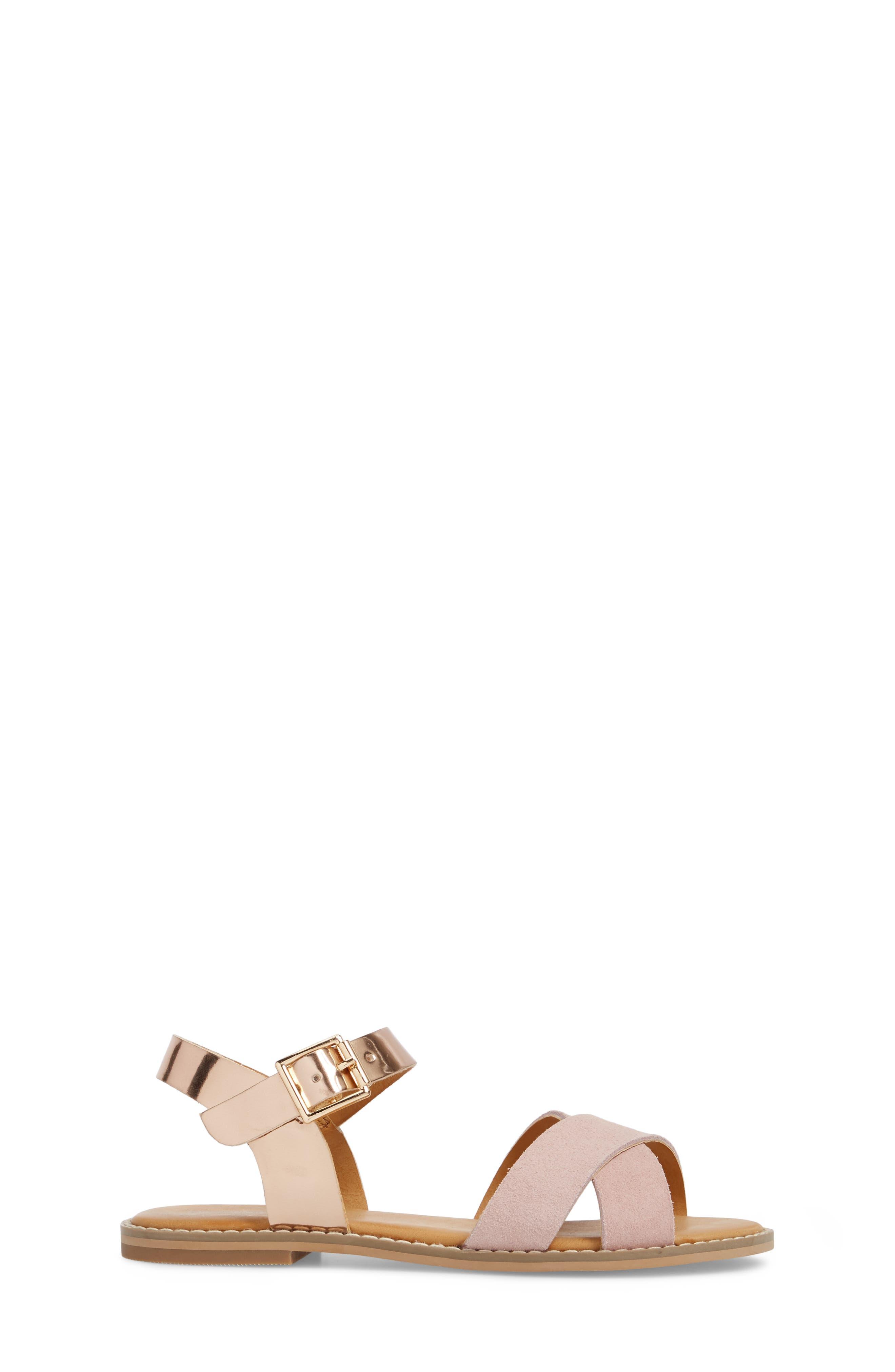 Arya Cross Strap Sandal,                             Alternate thumbnail 4, color,                             Rose Gold Faux Lea