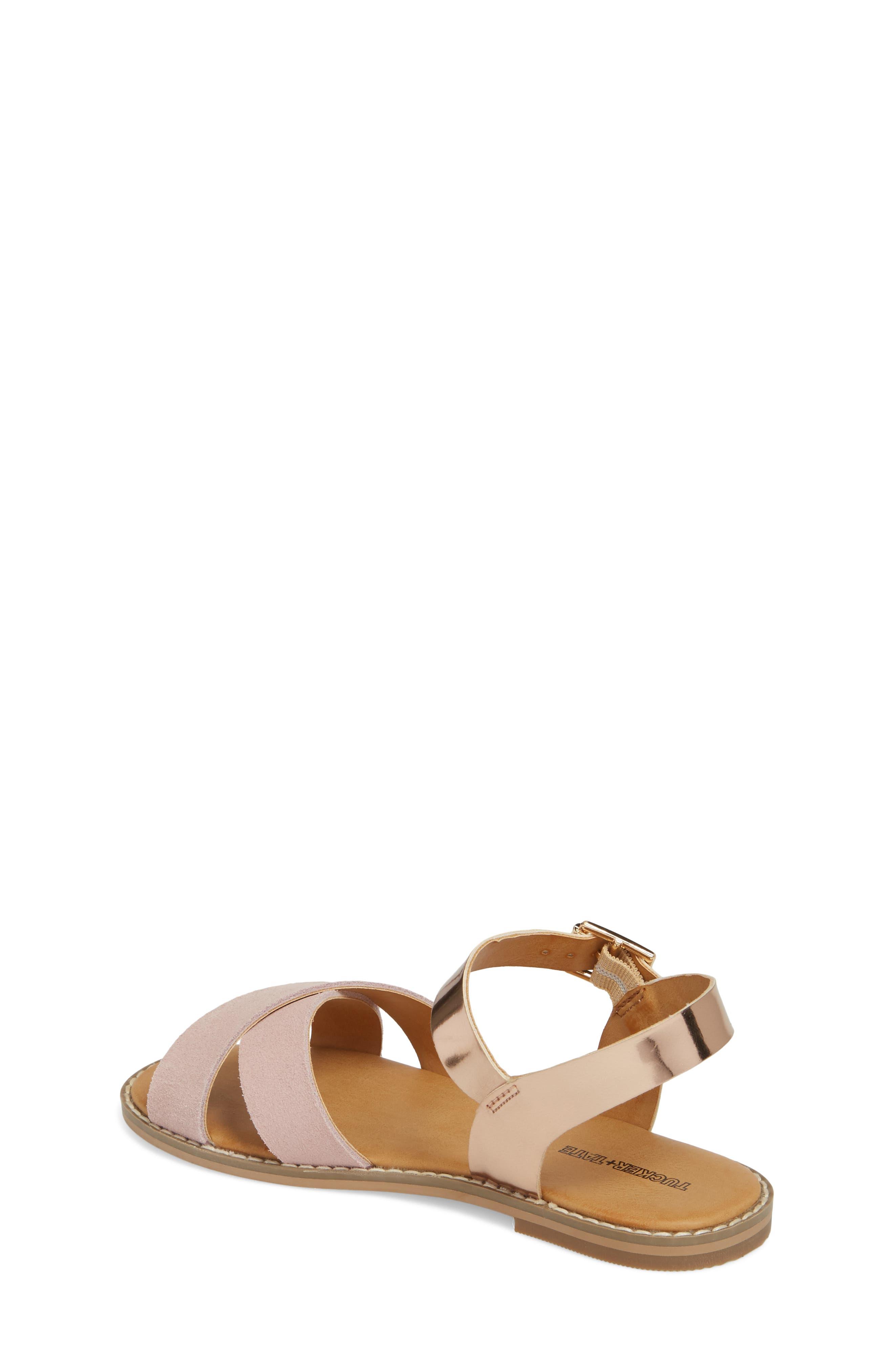 Arya Cross Strap Sandal,                             Alternate thumbnail 3, color,                             Rose Gold Faux Lea