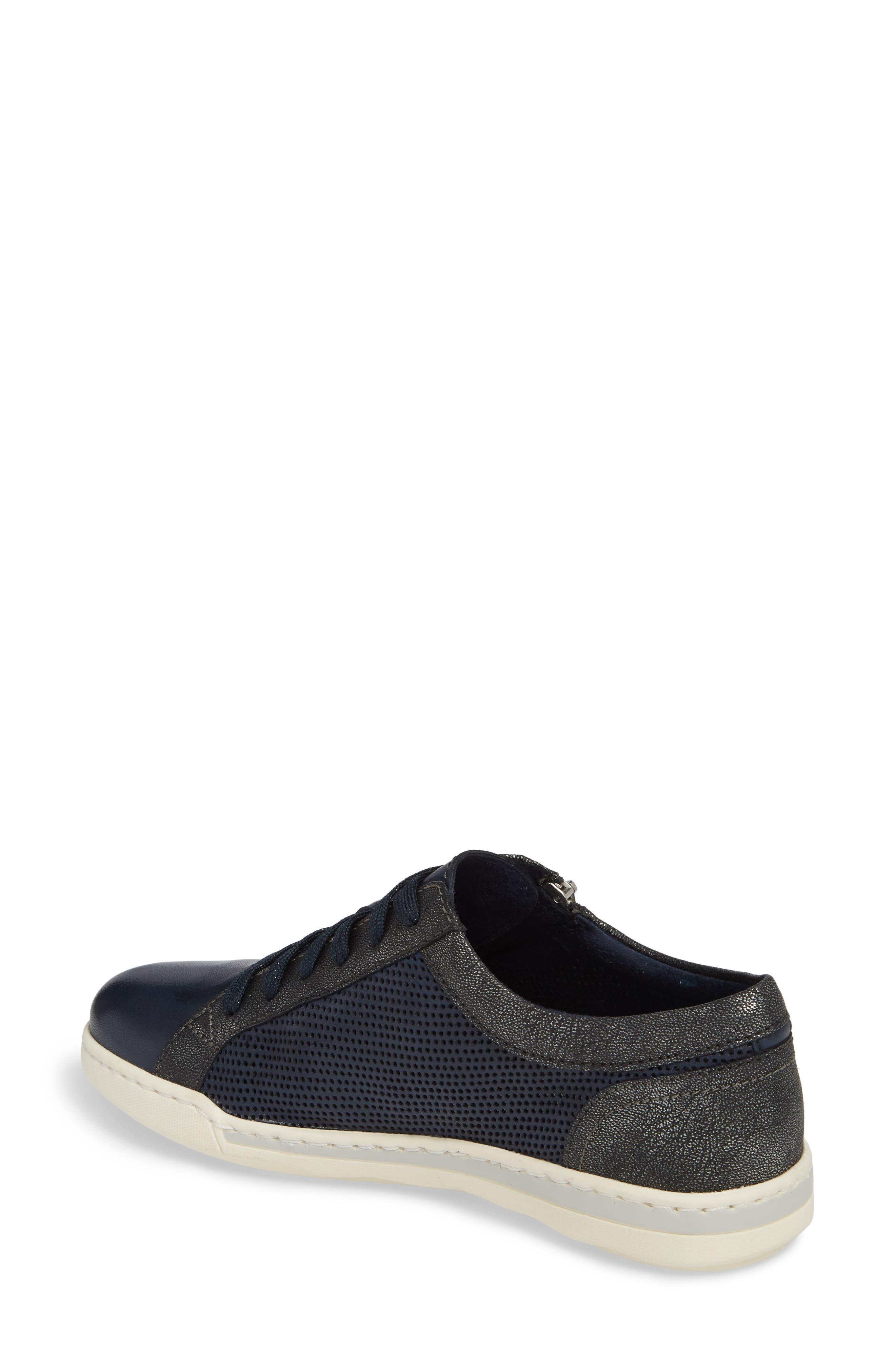 Freya Sneaker,                             Alternate thumbnail 2, color,                             Navy Leather