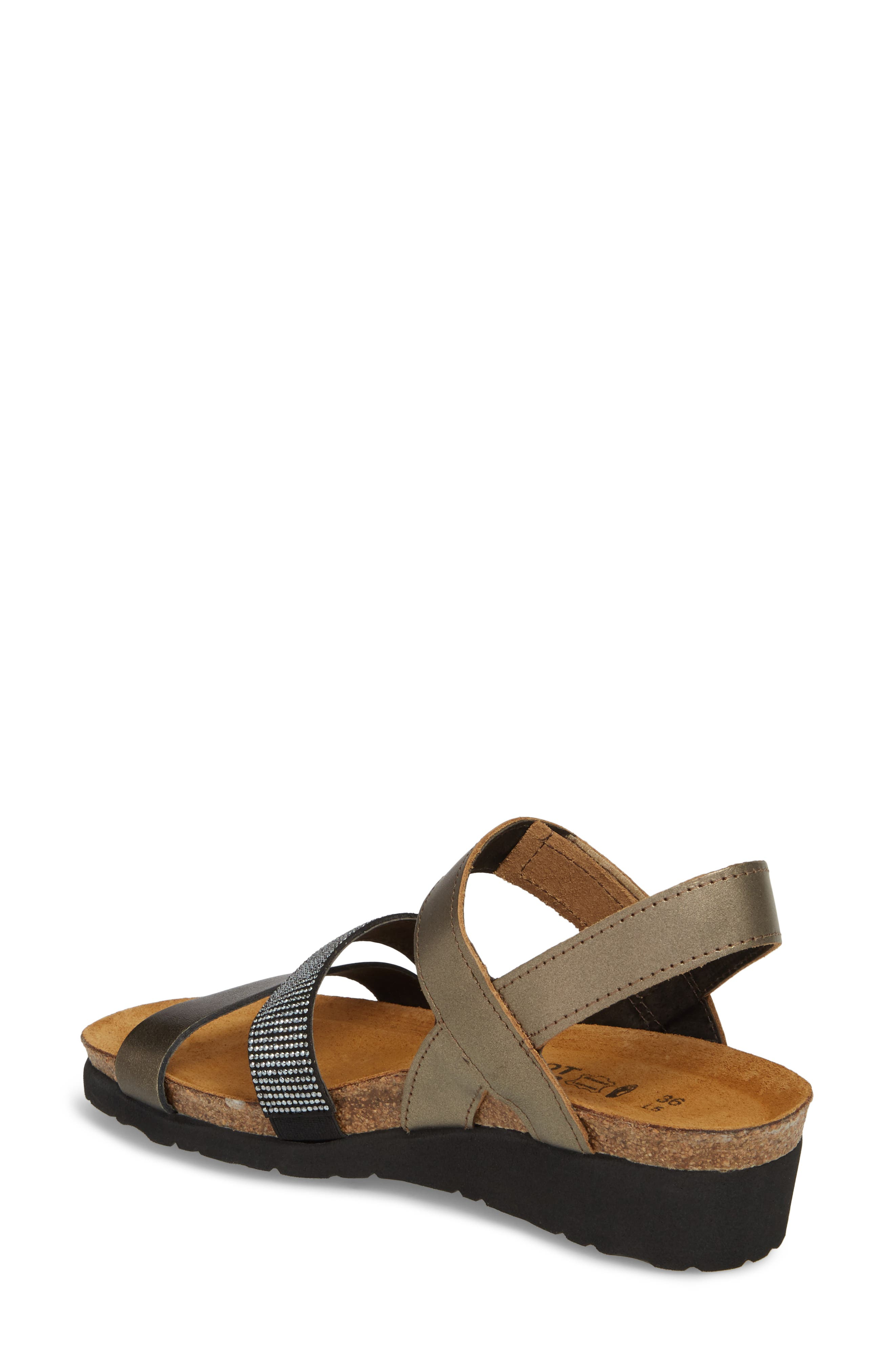 'Krista' Sandal,                             Alternate thumbnail 2, color,                             Pewter Leather