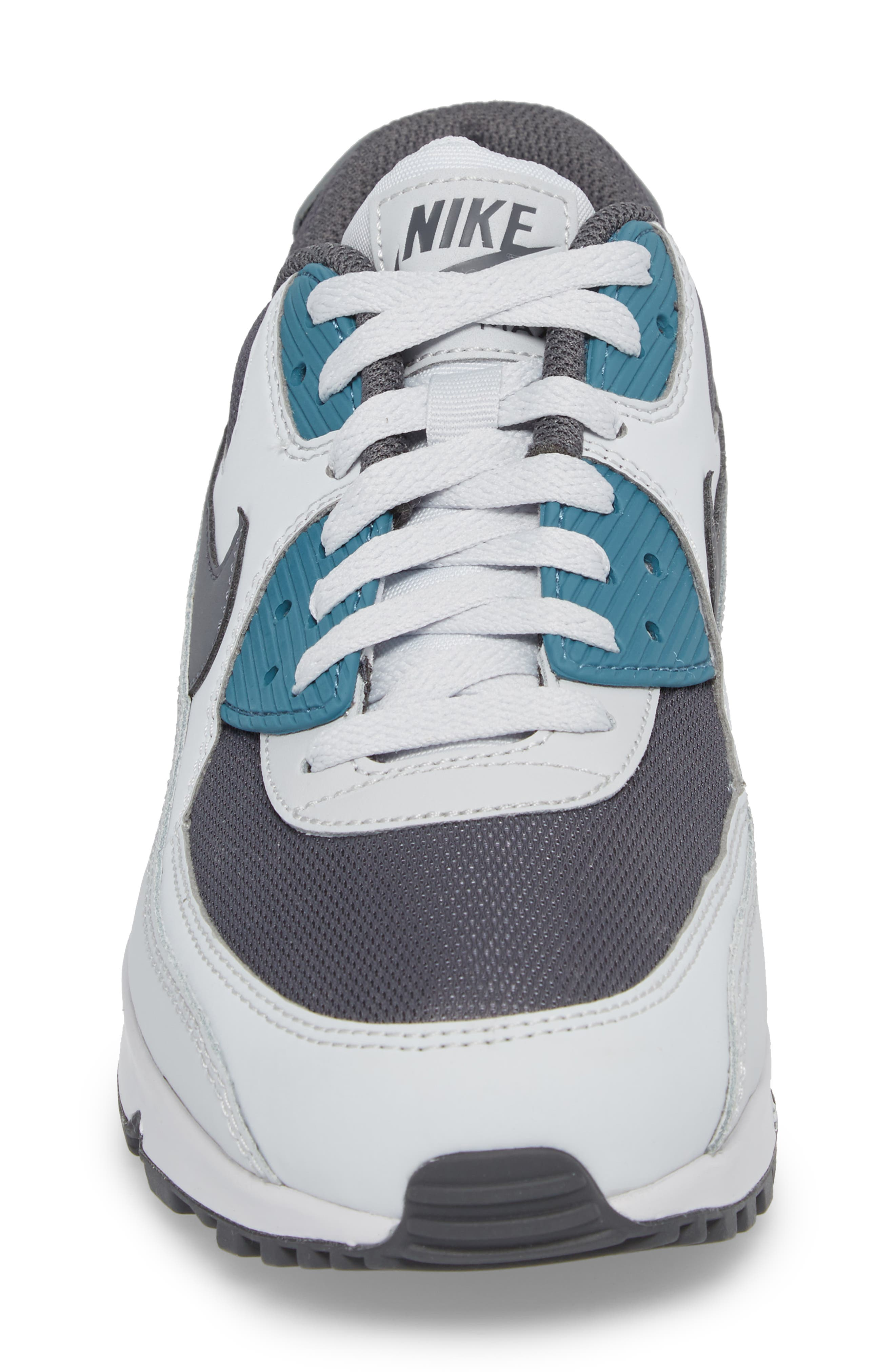 'Air Max 90 Essential' Sneaker,                             Alternate thumbnail 4, color,                             Pure Platinum/ Cool Grey/ Aqua