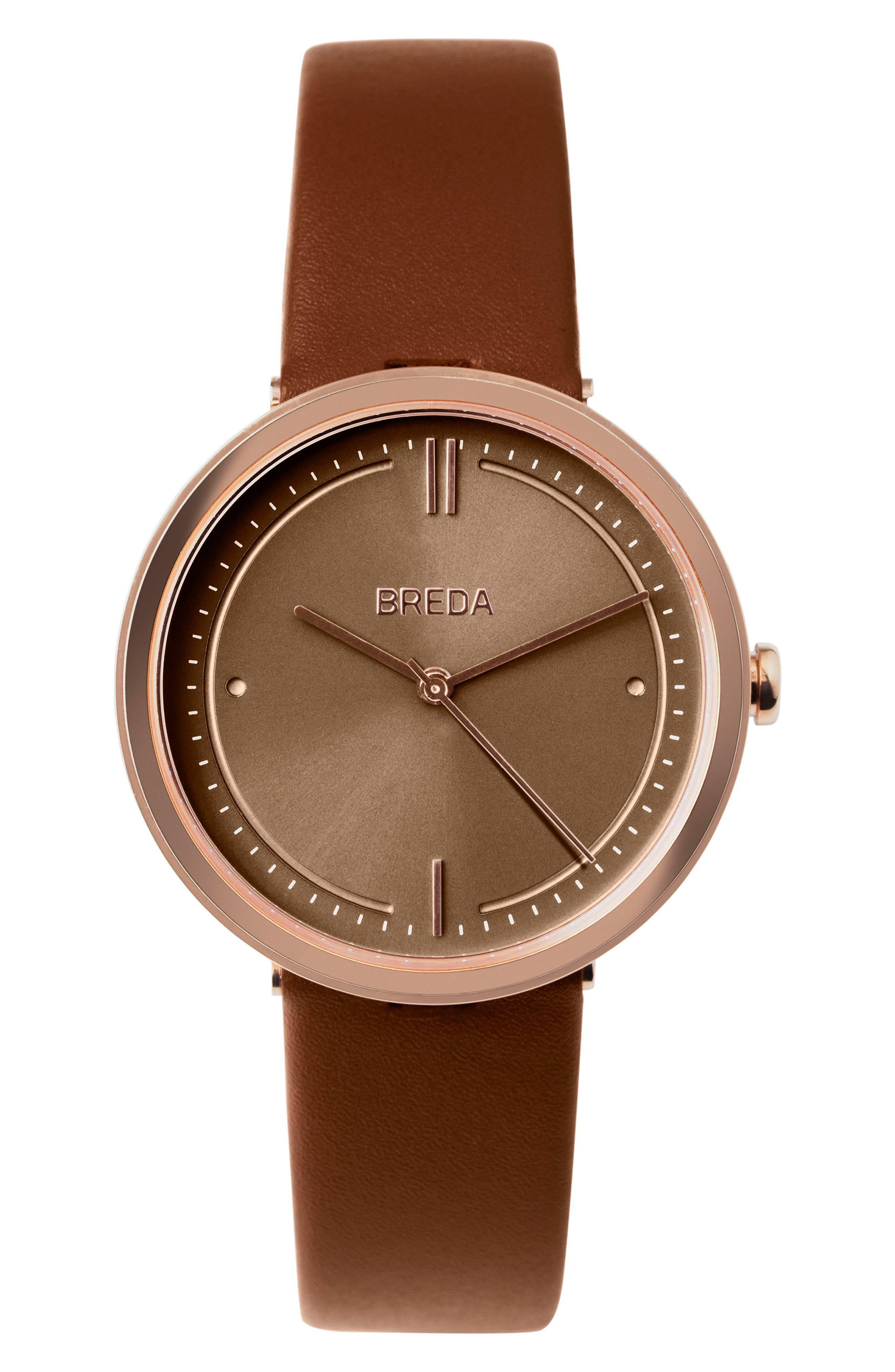 Agnes Leather Strap Watch, 34mm,                             Main thumbnail 1, color,                             Brown/ Rose Gold
