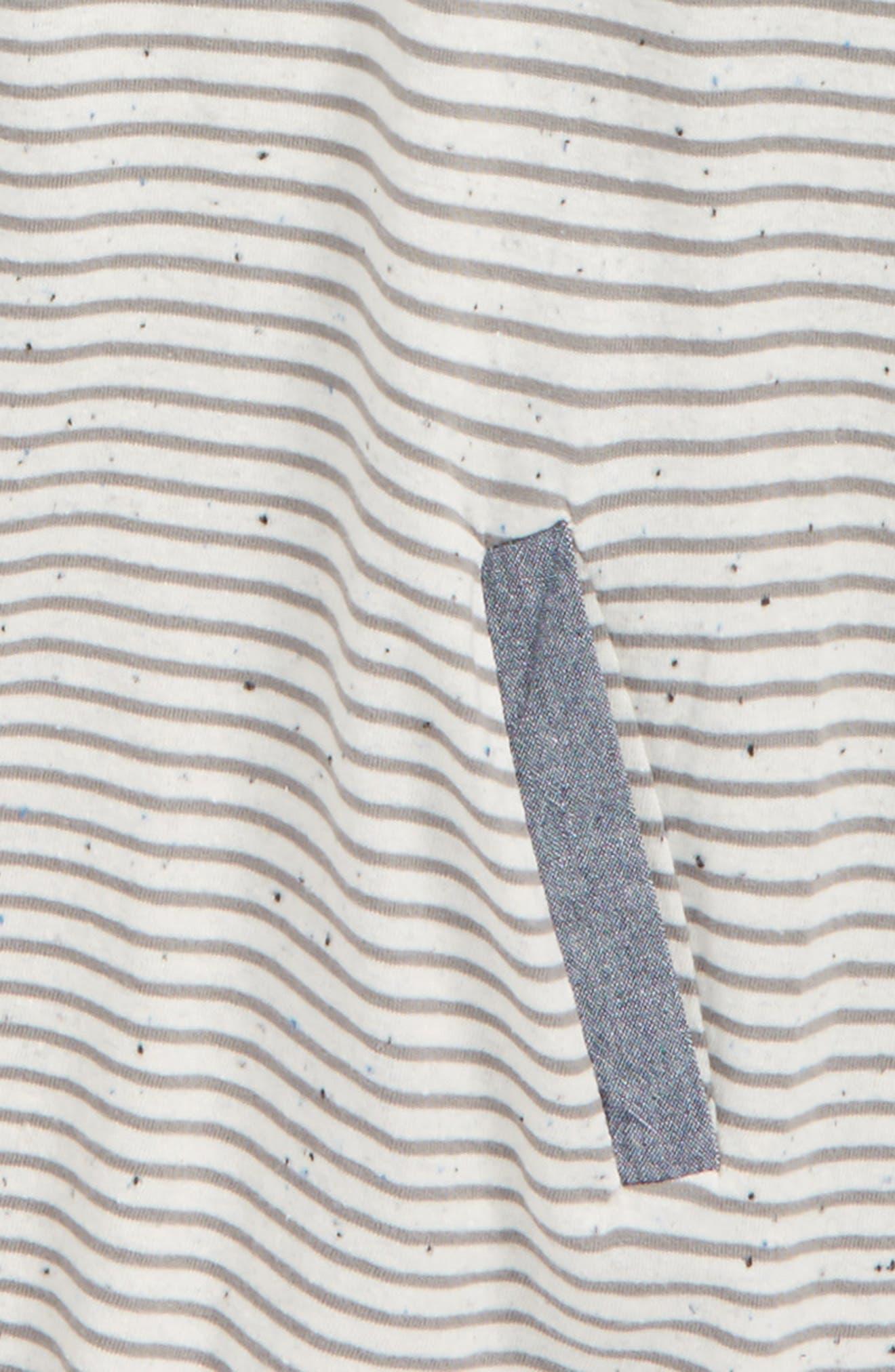Mixed Media Dress,                             Alternate thumbnail 3, color,                             Ivory Egret- Grey Stripe