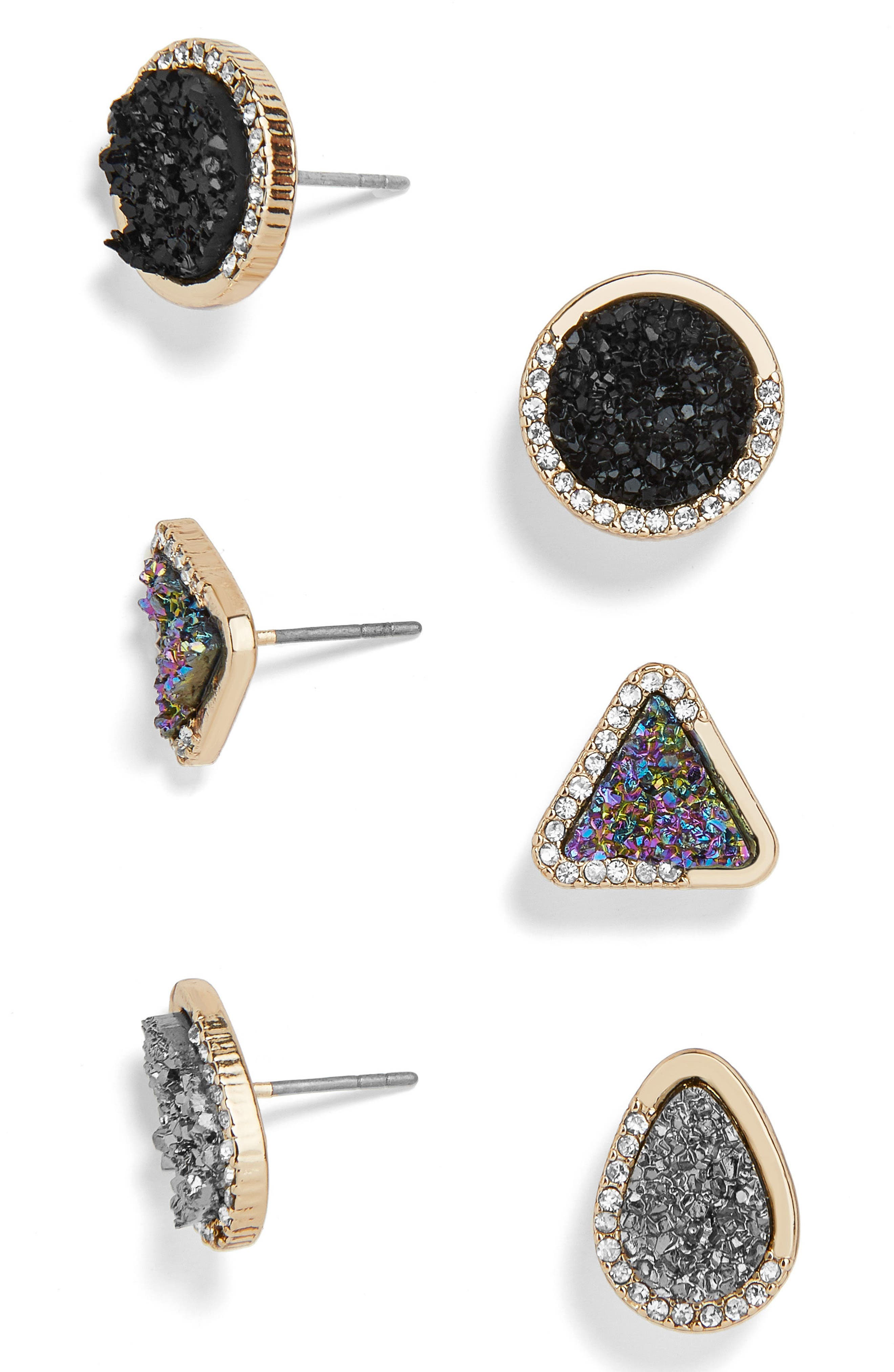 Over the Moon Set of 3 Assorted Stud Earrings,                             Main thumbnail 1, color,                             Multi