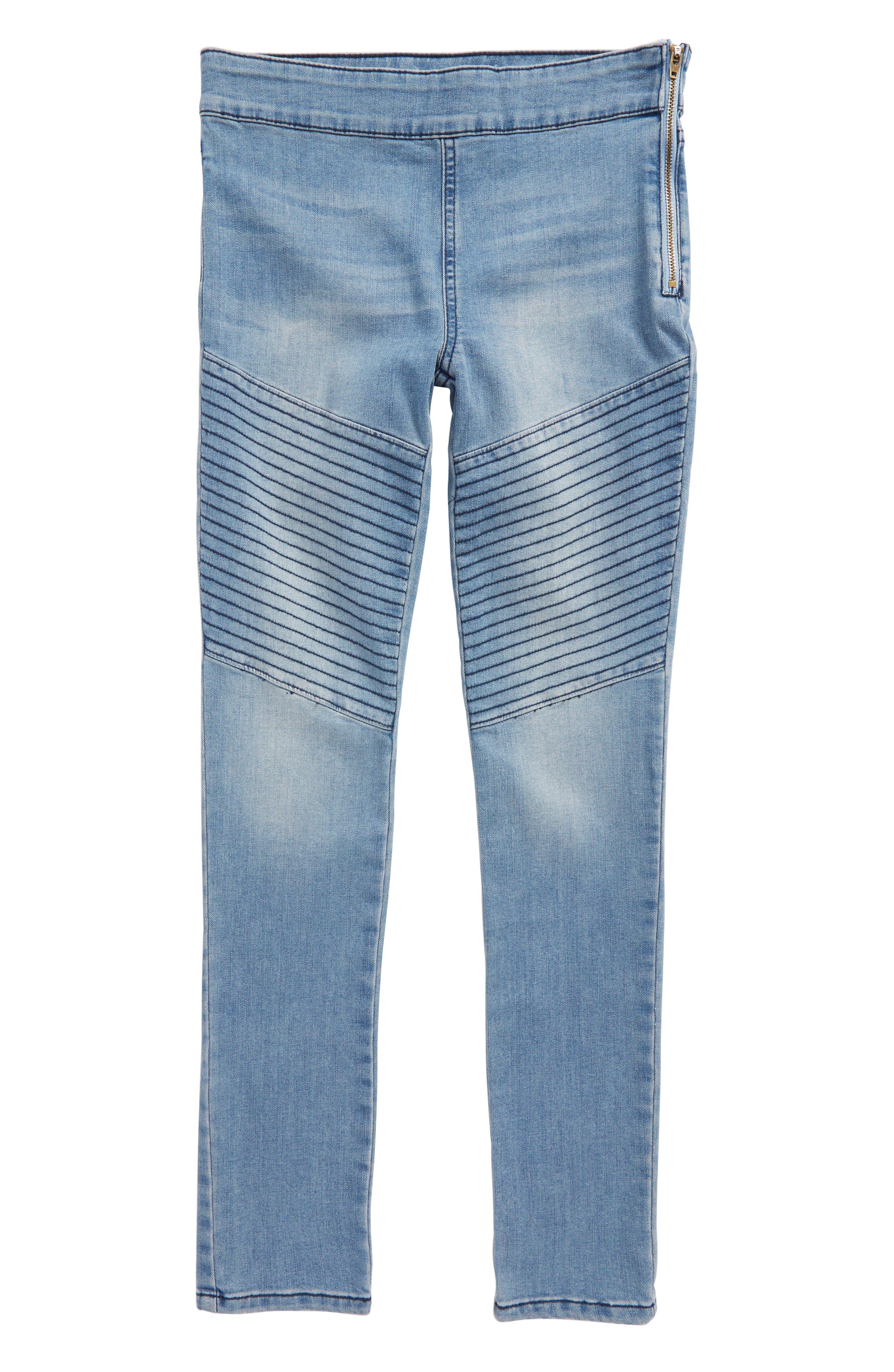Denim Moto Leggings,                         Main,                         color, Blue Bird Wash