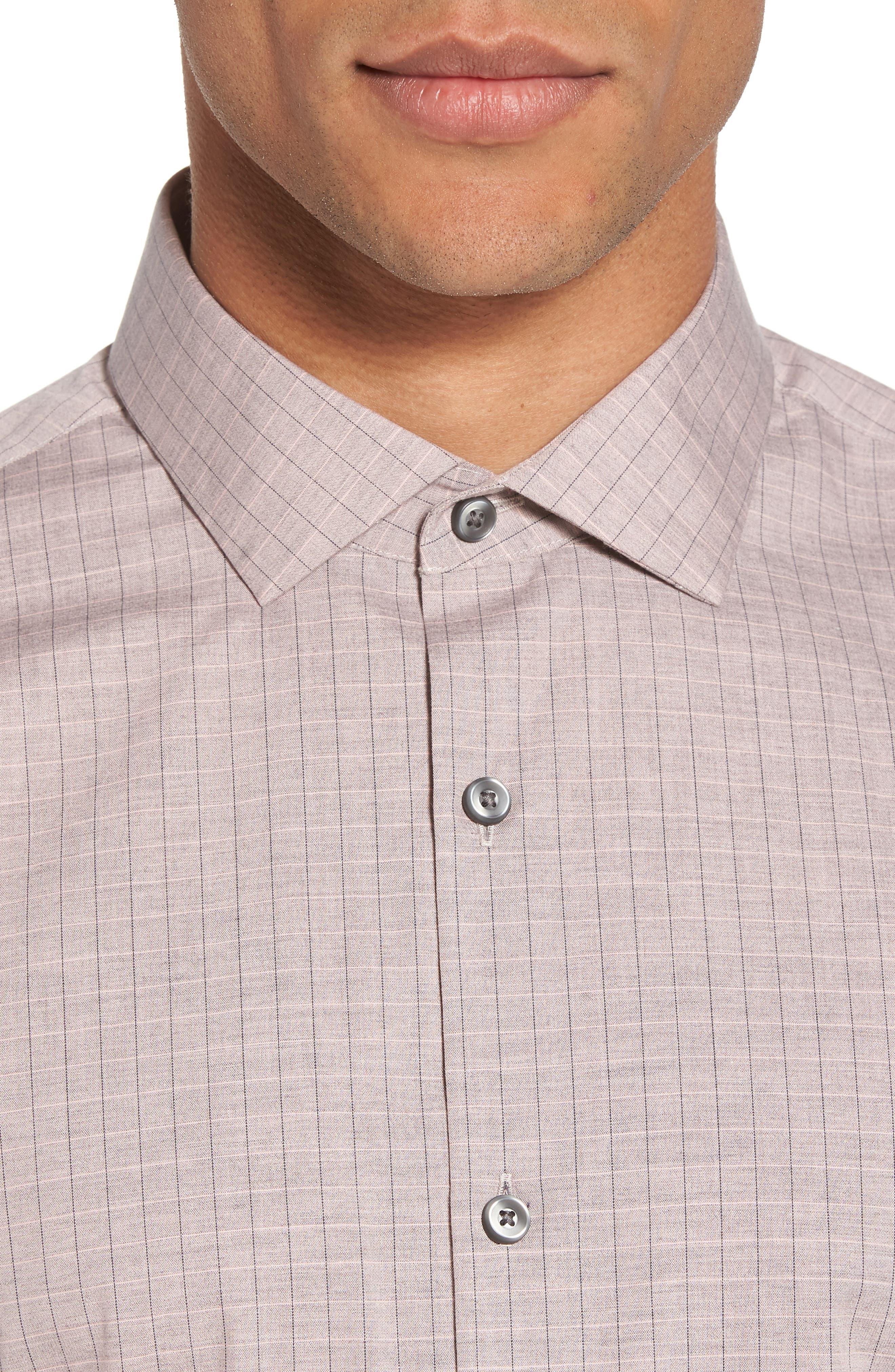Grid Sport Shirt,                             Alternate thumbnail 2, color,                             Pink Silver Heather Grid