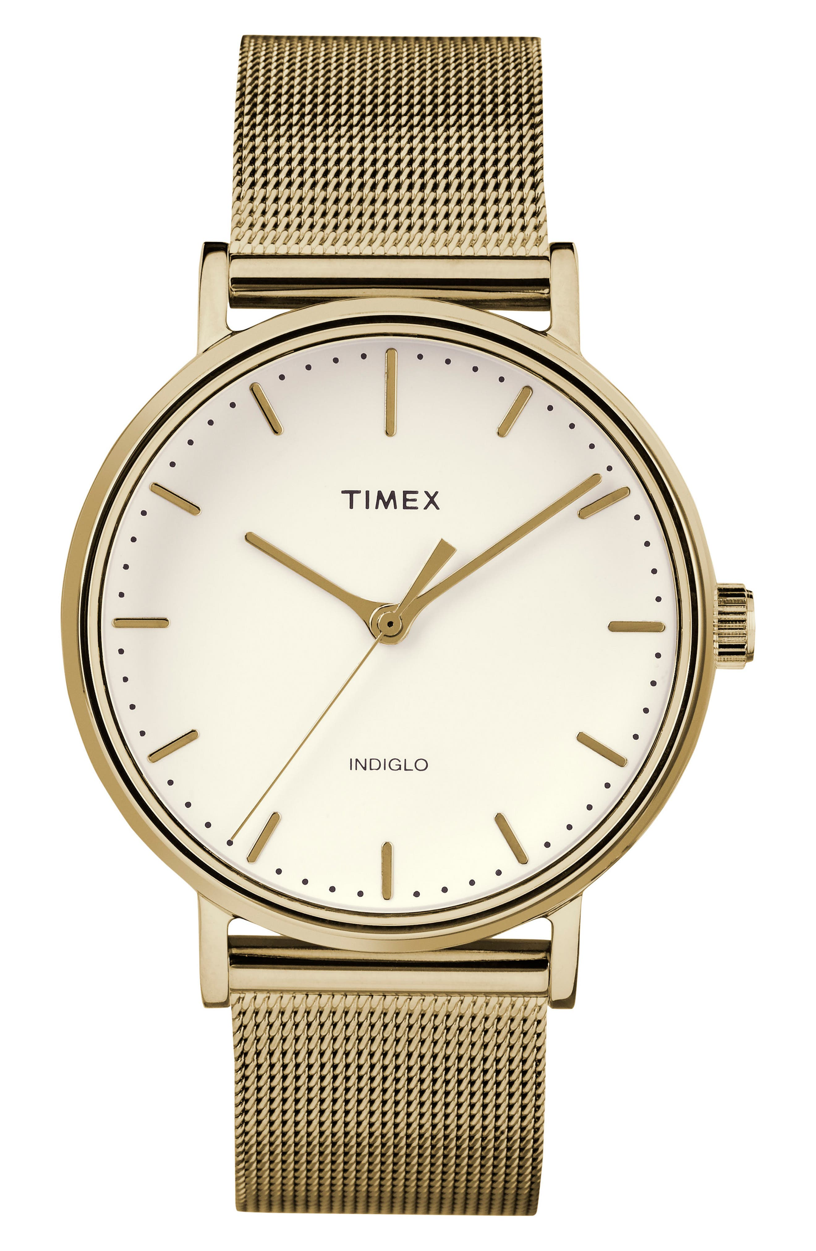 Timex Fairfield Mesh Strap Watch, 37mm,                             Main thumbnail 1, color,                             Gold/ White/ Gold