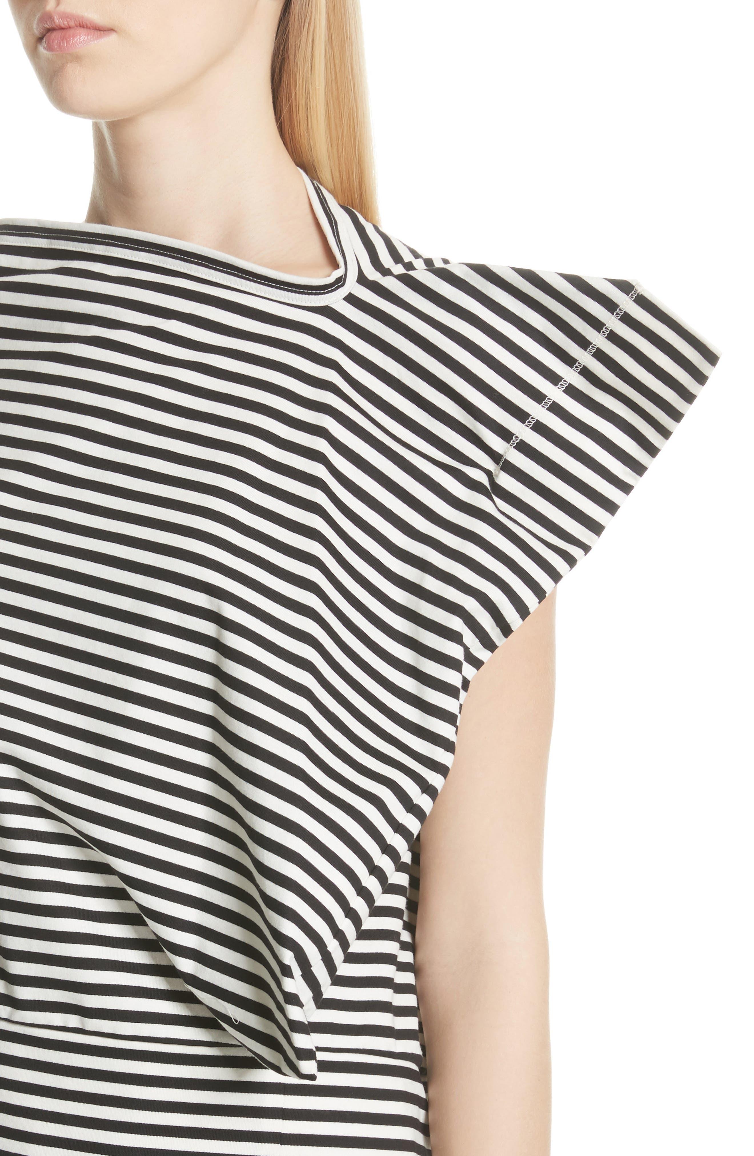 Stripe Top,                             Alternate thumbnail 4, color,                             Black/ Off White